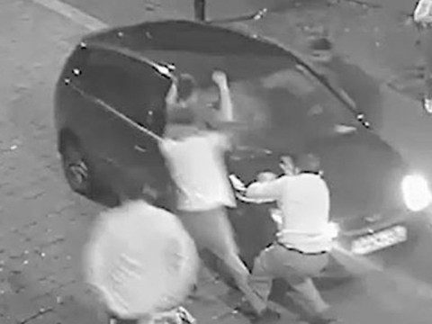 Moment teenager mows down women outside nightclub and reverses back over them