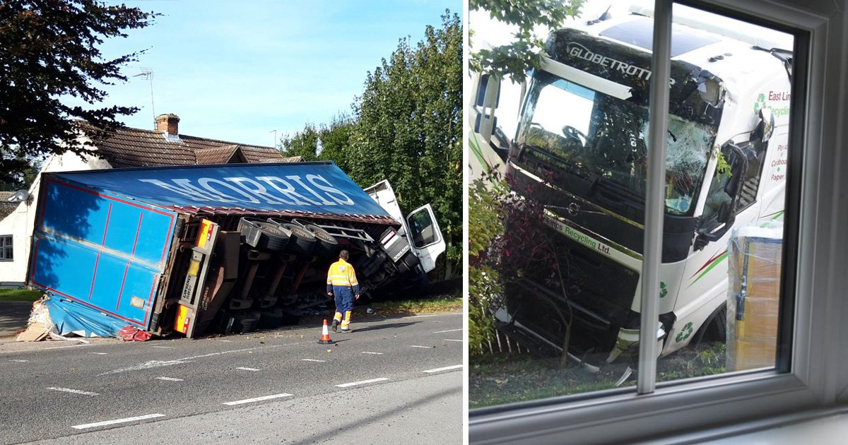 Lorry almost lands in mum's living room after hurtling off A16