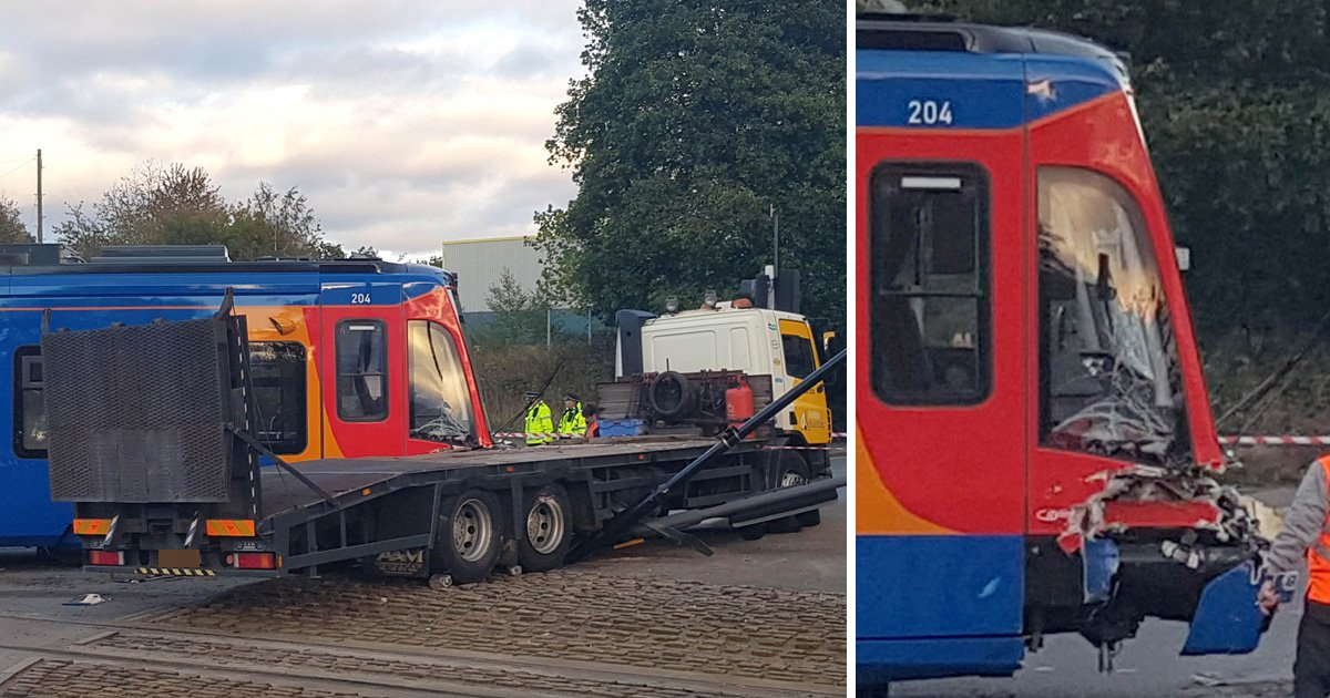 Tram derails hours after launch when it collides with lorry in Sheffield