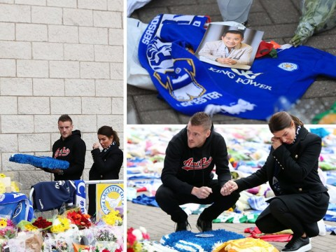 Jamie Vardy lays flowers in tribute to Leicester City owner who died in helicopter crash