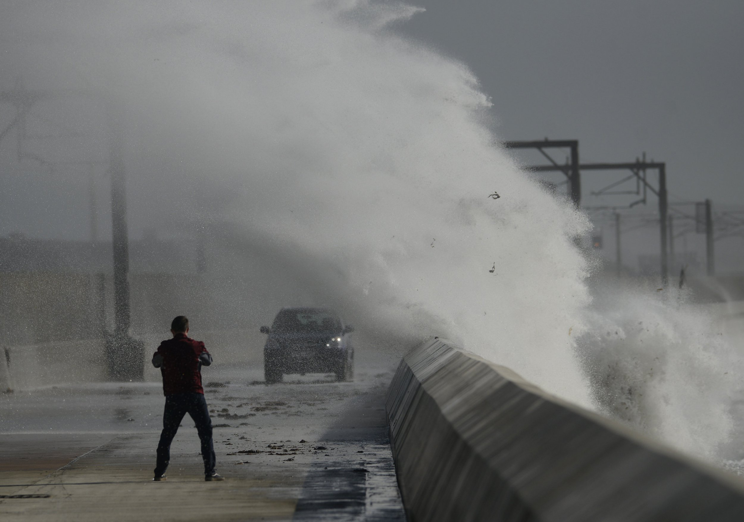 Storm Ali batters the town of Saltcoats, Ayrshire, Scotland, as high winds and rain are expected throughout Scotland over lunchtime. September 19, 2018.