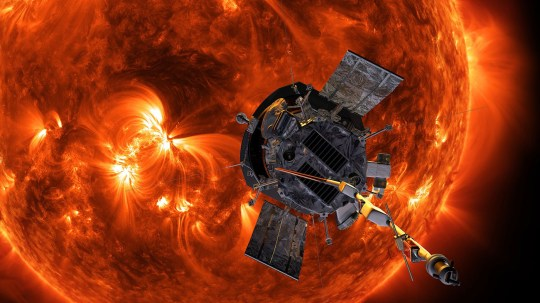 Illustration of NASA?s Parker Solar Probe approaching the Sun