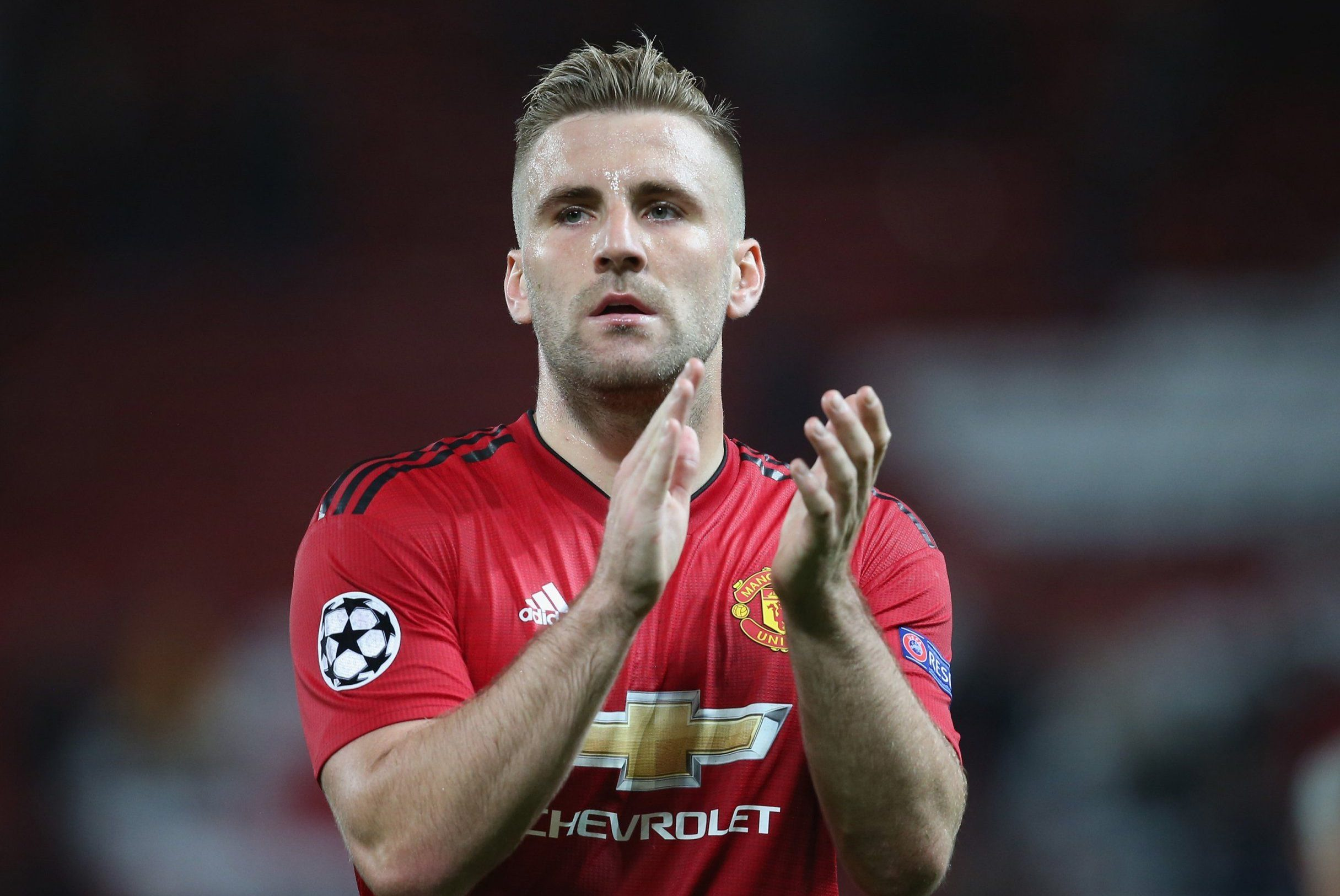 MANCHESTER, ENGLAND - OCTOBER 02: Luke Shaw of Manchester United walks off after the Group H match of the UEFA Champions League between Manchester United and Valencia at Old Trafford on October 2, 2018 in Manchester, United Kingdom. (Photo by John Peters/Man Utd via Getty Images)