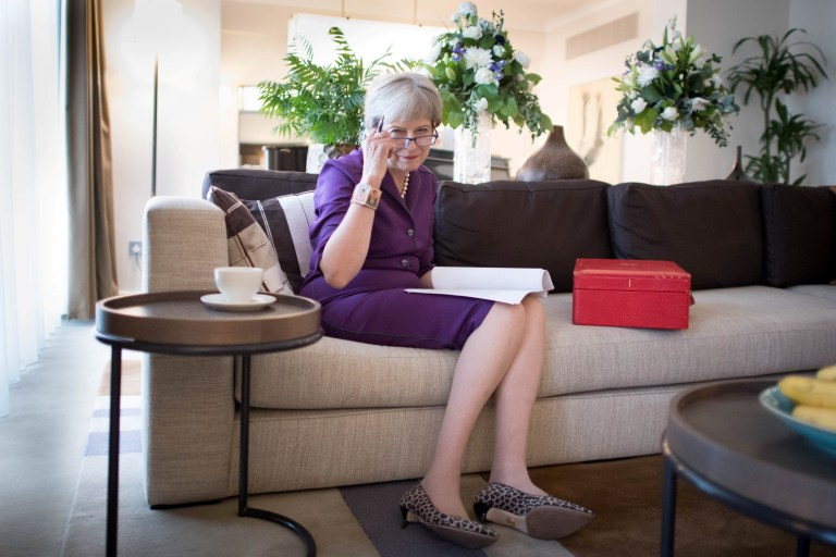ATTENTION EDITORS - THIS PICTURE IS EMBARGOED UNTIL 2100GMT OCTOBER 2, 2018. PLEASE DO NOT PUBLISH BEFORE 2100GMT. Britain's Prime Minister Theresa May prepares her keynote speech in her hotel room for the Conservative Party Conference at the International Convention Centre, in Birmingham, Britain October 2, 2018. Stefan Rousseau/Pool via REUTERS