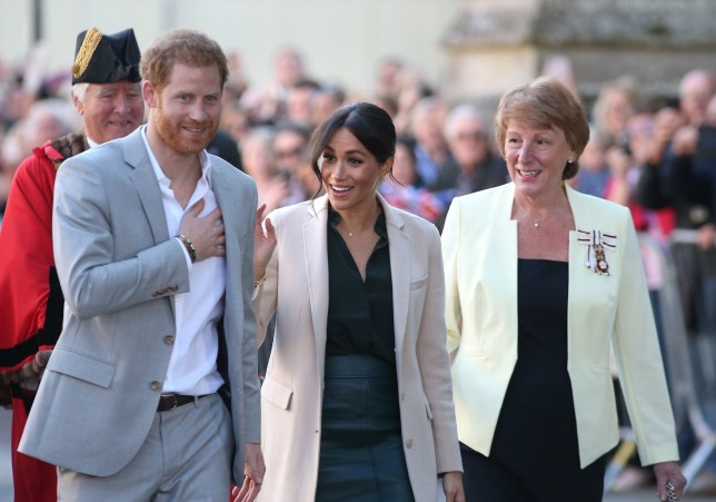 The Duke and Duchess of Sussex on a walkabout at Edes House, West Street, Chichester, as part of their first joint official visit to Sussex. PRESS ASSOCIATION Photo. Picture date: Wednesday October 3, 2018. Photo credit should read: Andrew Matthews/PA Wire