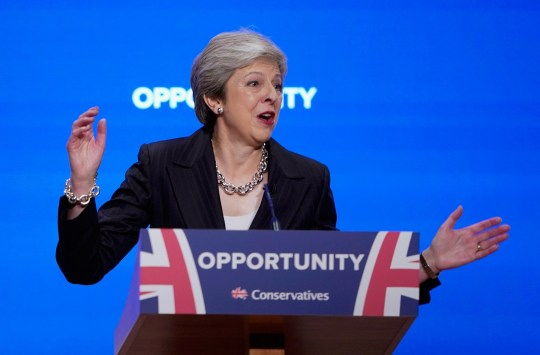 "BIRMINGHAM, ENGLAND - OCTOBER 03: British Prime Minister Theresa May delivers her leader's speech during the final day of the Conservative Party Conference at The International Convention Centre on October 3, 2018 in Birmingham, England. Theresa May delivered her leader's speech to the 2018 Conservative Party Conference today. Appealing to the ""decent, moderate and patriotic"", she stated that the Conservative Party is for everyone who is willing to ""work hard and do their best"". This year's conference took place six months before the UK is due to leave the European Union, with divisions on how Brexit should be implemented apparent throughout. (Photo by Christopher Furlong/Getty Images)"