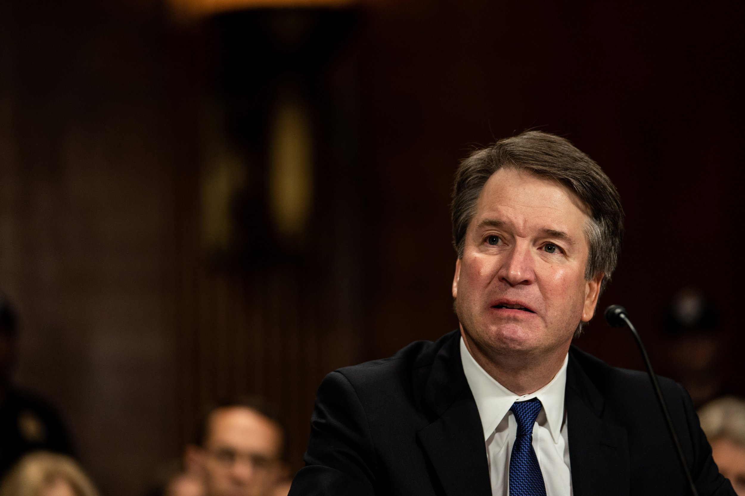SEPTEMBER 27 - WASHINGTON, DC: Judge Brett M. Kavanaugh testified in front of the Senate Judiciary committee regarding sexual assault allegations at the Dirksen Senate Office Building on Capitol Hill Thursday, September 27, 2018. at a Senate Judiciary Committee hearing on September 27, 2018 on Capitol Hill. Blasey Ford, a professor at Palo Alto University and a research psychologist at the Stanford University School of Medicine, has accused Supreme Court nominee Brett Kavanaugh of sexually assaulting her during a party in 1982 when they were high school students in suburban Maryland. (Photo by Erin Schaff-Pool/Getty Images)