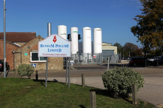 The scene outside Banham Poultry in Attleborough, Norfolk where two men have died after a chemical spill. See Masons copy SWCAchemical: Two men have died in an industrial incident at a poultry factory involving a 'chemical spillage.' The men, aged in their 30s and 40s, were discovered close to Banham Poultry in Attleborough, Norfolk, where the jobs of more than 1,000 workers are at risk. The pair found dead were reportedly both subcontractors working on the site from a pest control company. The factory is now in lock-down and local train services have been halted following reports of a suspected chemical spill at the site.