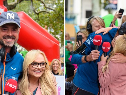Jamie Theakston tearfully greets Emma Bunton after walking seven marathons in a week