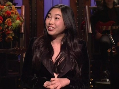 Awkwafina takes a dig at Kanye West on SNL stage week after he dressed as a water bottle