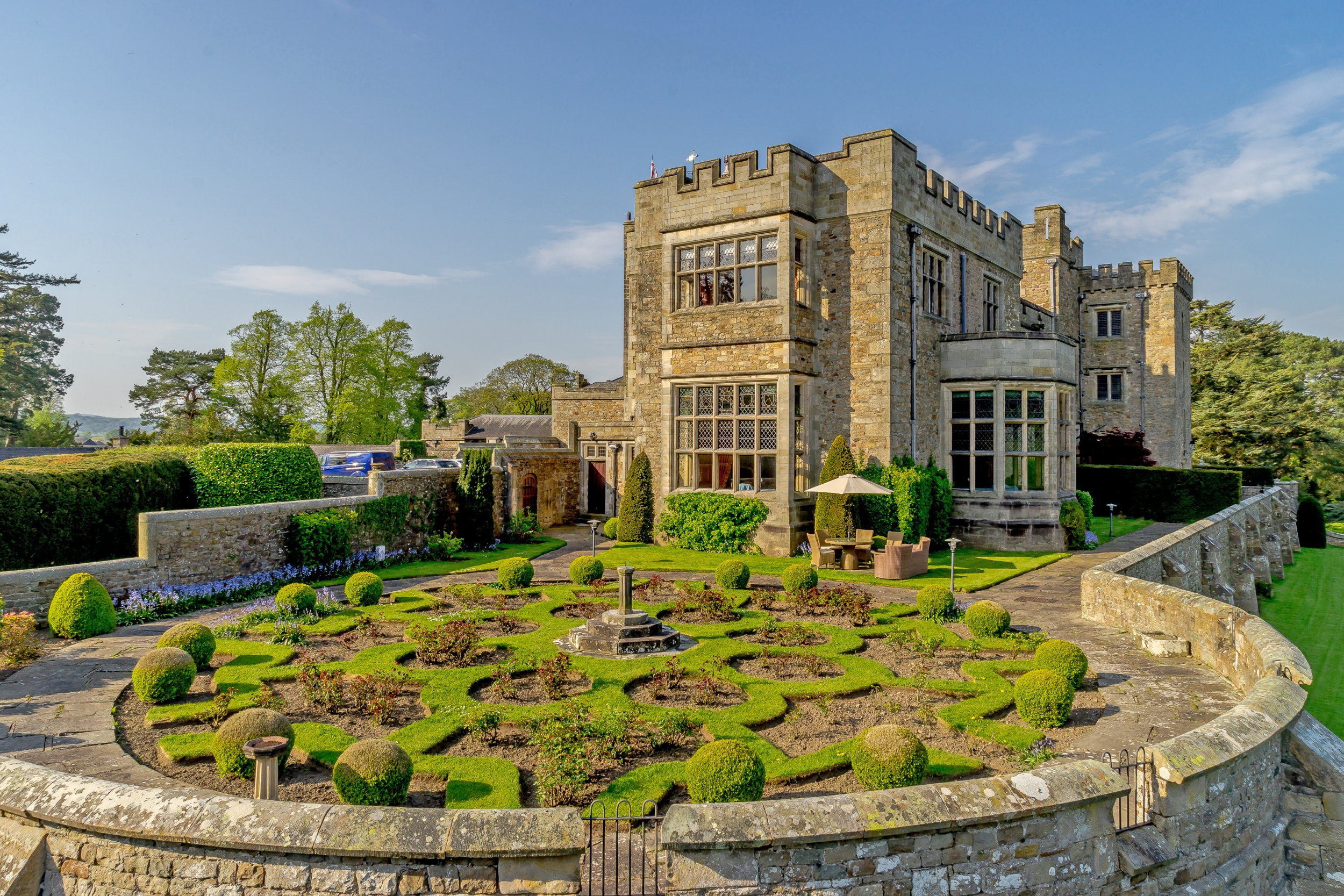 This incredible home set within an 11th century castle which has gone on the market for a cool ??1.25m comes with a priceless feature - a LORDSHIP title. See SWNS story SWLEcastle. The three-floor home, set in the Thurland Wing of Grade II-listed Thurland Castle, even comes with its own moat and battlements. The medieval property can only be accessed via the castle's original stone arch and gateway stretching across the ancient bridge over the moat. Once owned by 'The Stainless Knight', Brian Tunstall - a war hero who died at the Battle of Flodden in 1513 and was immortalised in a poem by Sir Walter Scott - the Thurland Wing has been extensively renovated to bring its 1,000-year past up to date.