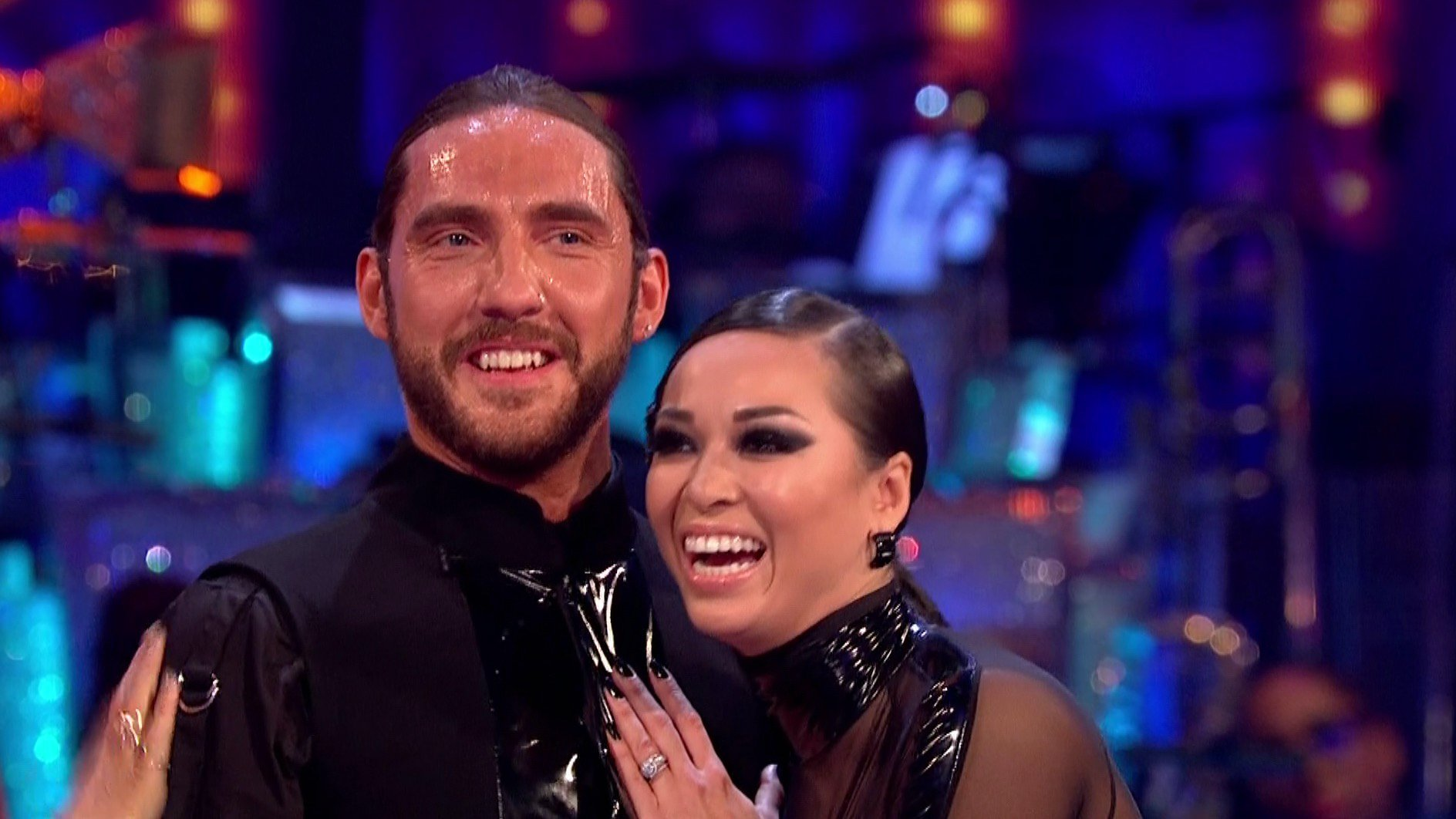 pic shows: Strictly 2018 Following Seann Walsh and married dance partner Katya Jones being pictured having a snog in the street they appeared on the show doing the Matrix Suportive girlfriend Rebecca Humphries looked on but may not have been aware Picture by Pixel8000 07917221968