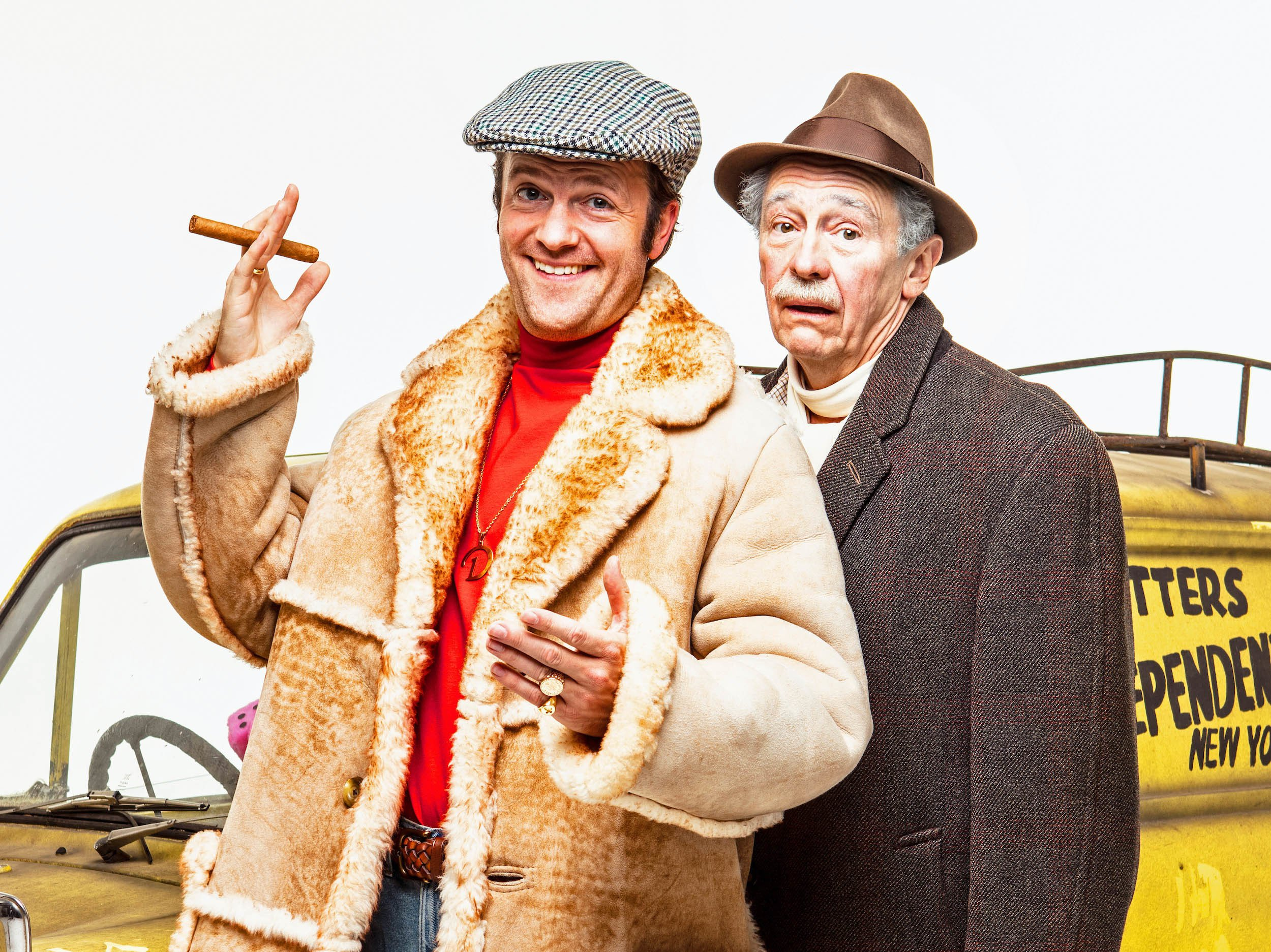 "Undated handout photo of Tom Bennett as Del Boy (left) and Paul Whitehouse as Grandad, who will star in a musical version of Only Fools And Horses, which has been created to honour the ""delicate legacy"" of its deceased writer John Sullivan, with songs from the late Chas Hodges. PRESS ASSOCIATION Photo. Issue date: Monday October 8, 2018. The creator of the long-running sitcom died aged 64 in 2011, before work on a musical retelling of the Trotter's misadventures could be completed. See PA story SHOWBIZ Horses. Photo credit should read: Trevor Leighton/PME/PA Wire NOTE TO EDITORS: This handout photo may only be used in for editorial reporting purposes for the contemporaneous illustration of events, things or the people in the image or facts mentioned in the caption. Reuse of the picture may require further permission from the copyright holder."