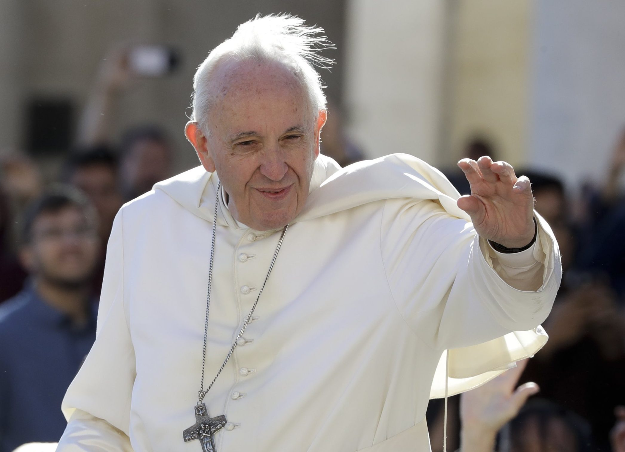 FILE - In this Sept. 26, 2018 file photo, Pope Francis arrives for his weekly general audience in St. Peter's Square at the Vatican. South Korea says North Korean leader Kim Jong Un wants Pope Francis to visit North Korea. (AP Photo/Andrew Medichini, File)
