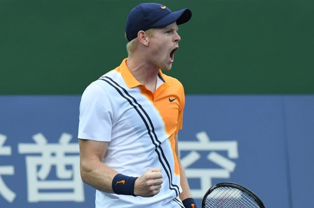 Kyle Edmund of Britain reacts after winning a point against Filip Krajinovic of Serbia during their men's singles first round match at the Shanghai Masters tennis tournament on October 9, 2018. (Photo by WANG ZHAO / AFP)WANG ZHAO/AFP/Getty Images