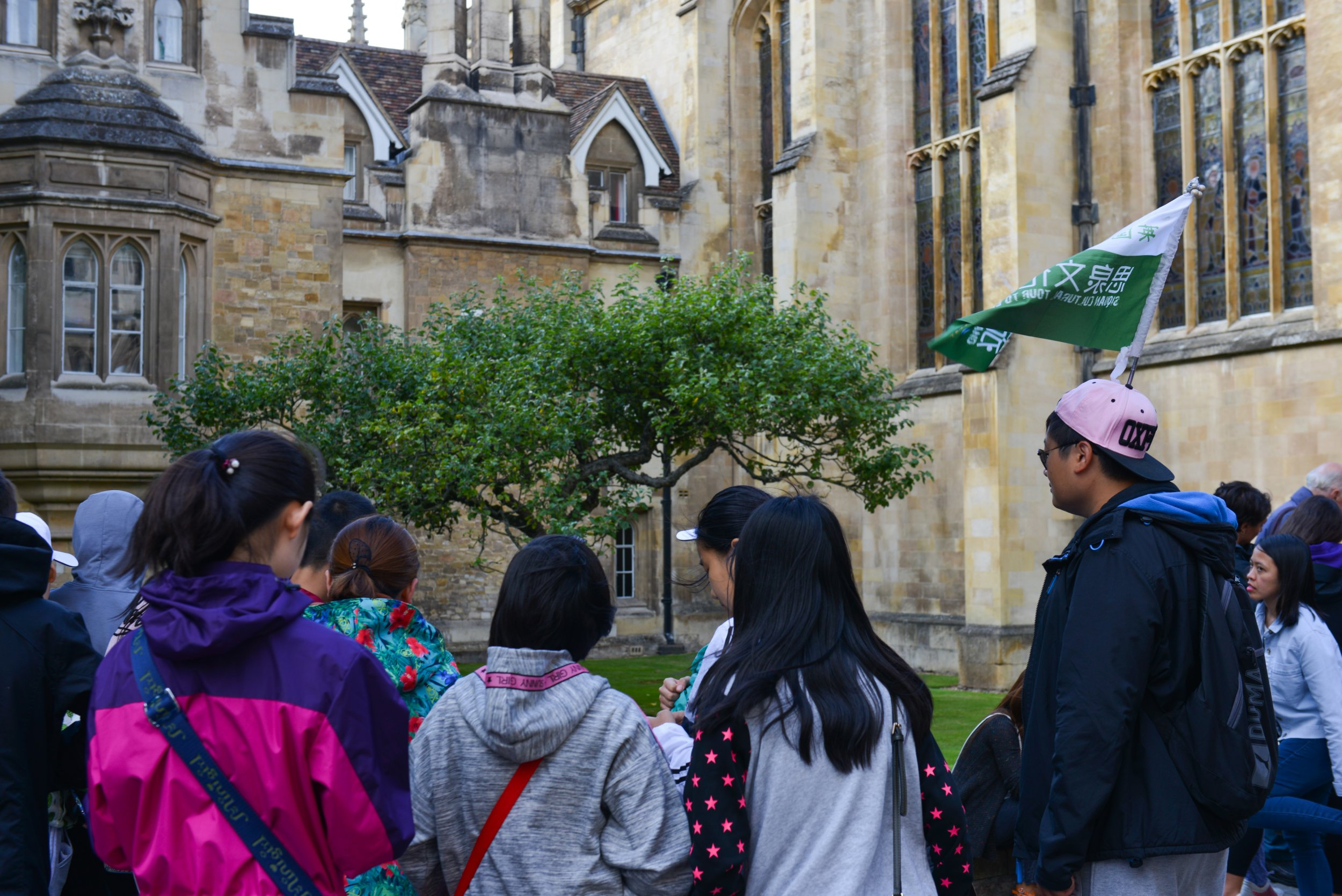 CAMBRIDGE, ENGLAND - AUGUST 19: Chinese tourists stand in front of Isaac Newton's apple tree at Trinity College, part of the University of Cambridge on August 19, 2017 in Cambridge, England. A lot of tourists from all over the world visit the campus of the University of Cambridge during summer. (Photo by VCG/VCG via Getty Images)