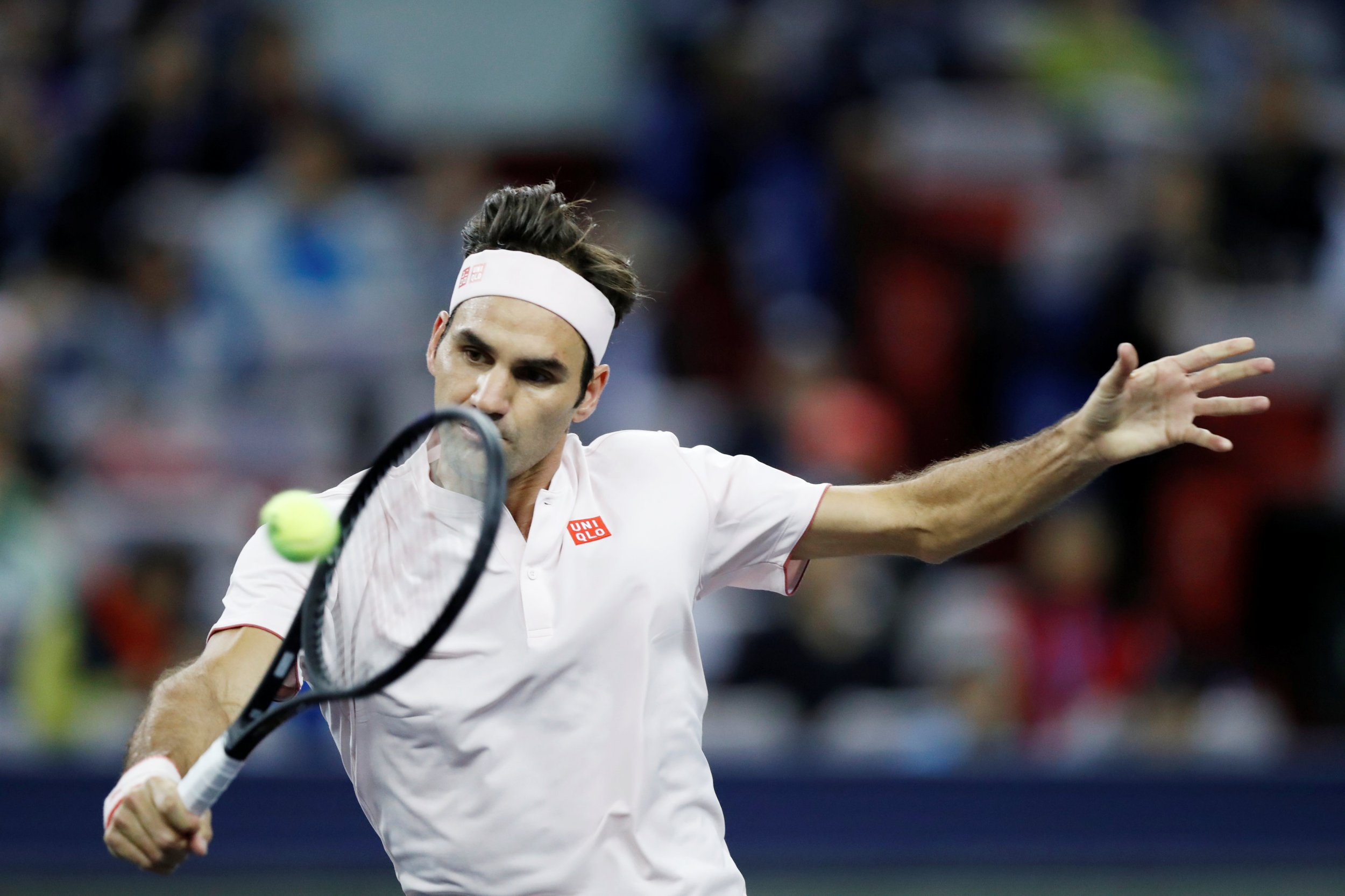 Tennis - Shanghai Masters - Shanghai, China - October 10, 2018 - Roger Federer of Switzerland in action against Daniil Medvedev of Russia. REUTERS/Aly Song