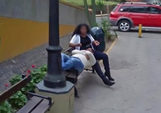 "Pic Shows: Screenshot of the woman with her lover; A husband has divorced his wife after discovering intimate photos of her with another man on Google Maps. The man was checking the best way to reach a popular bridge in the Peruvian capital city of Lima when he spotted a familiar figure. He saw a woman sitting on a bench stroking the hair of a man who was lying on the bench with his head in her lap. He first recognised that the woman's clothes were identical to those of his wife and then looked closer and realised it was her. The photo, taken by a Google camera car, dated back to 2013 but the man angrily confronted his wife with the evidence of her past infidelity. And the couple, whose names have not been revealed, later divorced after the woman admitted to having had an affair. Ironically, she was photographed with her lover on a bench by the city's Puente de los Suspiros de Barranco (Bridge of Sighs of the Ravine). The man recently shared the photographs on Facebook where they made a big impression on users. Netizen ???San Pateste??? said: ""What a small world it is... It would have been enough if she said to her husband that she did not love him any more."" While cynic ???Guillermo Sanchez??? added: ""Out of 100 women, 90 per cent are not loyal, the rest are loyal and only have one eye (hahaha) or are immortal (hahaha)."" The photograph is one of a long line of bizarre images taken for the Google Maps and Google Street View online resources. They include people dressed as pigeons, an escaped convict, a couple having sex by their car, a woman giving birth and a donkey apparently run over by a camera car - although Google denied this."