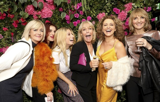 LONDON, ENGLAND - OCTOBER 10: Jane Moore, Maddie Sawalha, Stacey Soloman, Linda Robson, Nadia Sawalha and Kaye Adams attend the VIP Party with Stacey Solomon as she celebrates the launch of her new collection with Primark at The Ace Hotel on October 10, 2018 in London, England. The collection launches on Thursday 11th October. (Photo by David M. Benett/Dave Benett/Getty Images for Primark)