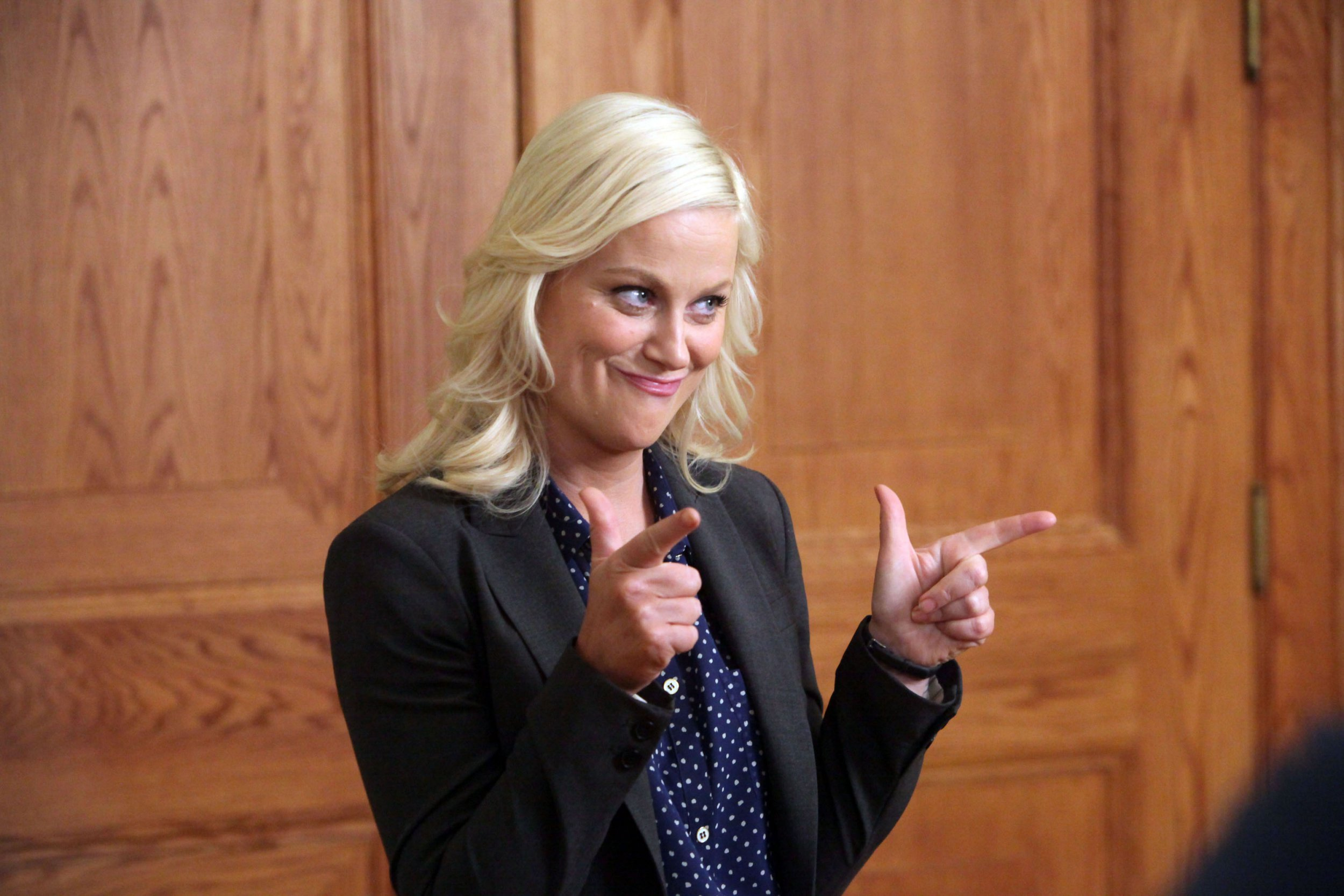 "PARKS AND RECREATION -- ""Live Ammo"" Episode 419 -- Pictured: Amy Poehler as Leslie Knope -- (Photo by: Danny Feld/NBC/NBCU Photo Bank via Getty Images)"