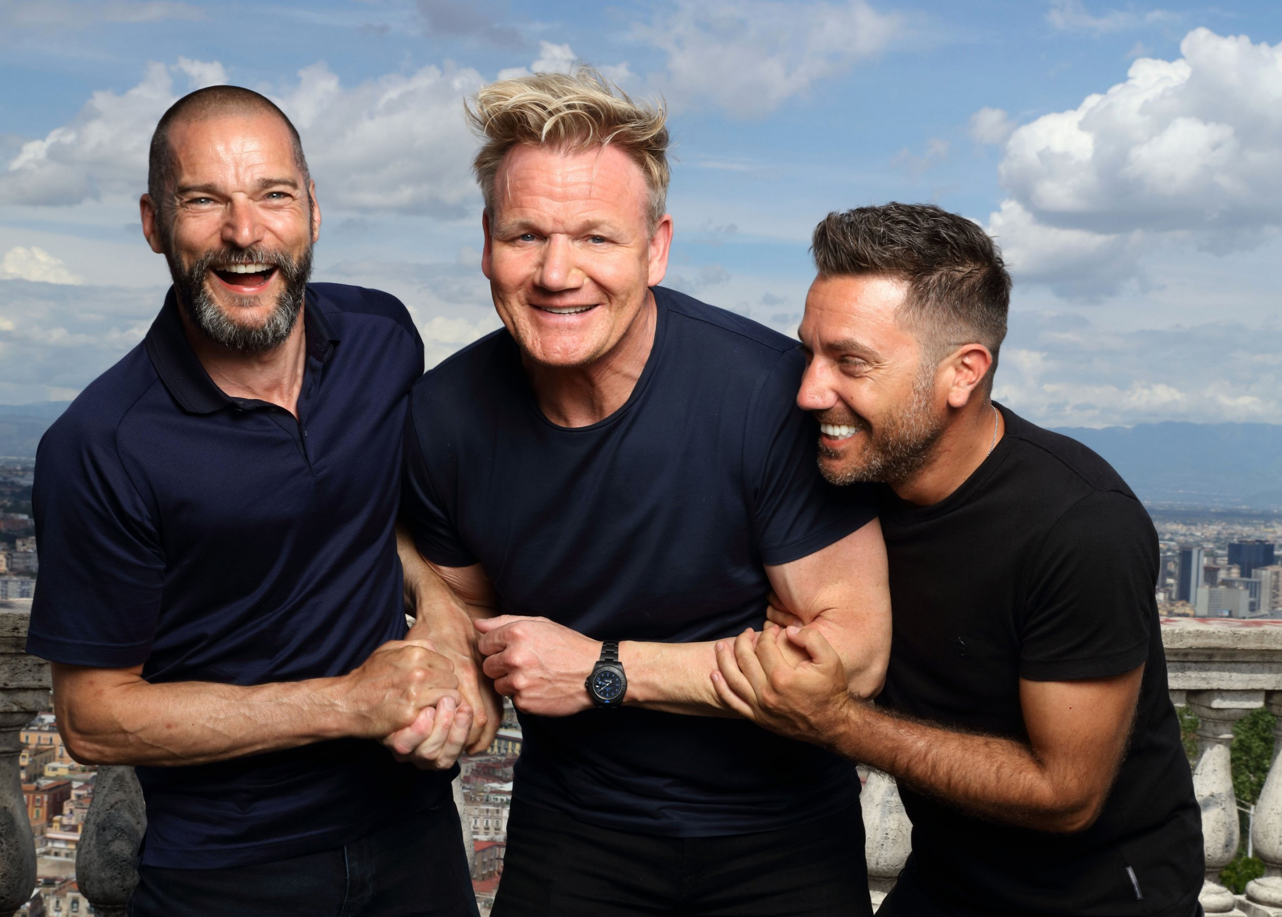 EMBARGOED PICTURE: FOR PUBLICATION FROM TUESDAY 2ND OCTOBER 2018 From Studio Ramsay GORDON, GINO AND FRED: ROADTRIP Ep1 The Italian Job Wednesday 10th October 2018 on ITV Pictured: Fred Sirieix, Gordon Ramsay and Gino D'Acampo in Naples Three big egos, one small van. Gordon, Gino and Fred pack up their camper van once again and head off on a European adventure, but this time it?s personal as each episode takes us on a tour of their cherished homelands, each of them with a special occasion to prepare for. With three countries, three weeks and three coqs au vin in close confinement what could possibly go wrong? In episode one, Gordon, Gino and Fred start their road trip in Gino?s homeland of Italy, where Gino needs help to pull off an event that is close to his heart. His best friend?s vow renewal ceremony is taking place in front of 50 guests, in just four days? time. ? ITV Photographer: Tony Ward For further information please contact Peter Gray 0207 157 3046 peter.gray@itv.com This photograph is ? ITV and can only be reproduced for editorial purposes directly in connection with the programme GORDON, GINO AND FRED: ROADTRIP or ITV. Once made available by the ITV Picture Desk, this photograph can be reproduced once only up until the Transmission date and no reproduction fee will be charged. Any subsequent usage may incur a fee. This photograph must not be syndicated to any other publication or website, or permanently archived, without the express written permission of ITV Picture Desk. Full Terms and conditions are available on the website www.itvpictures.com