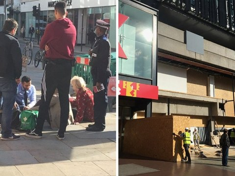 Woman 'crushed by hoarding' outside H&M in west London