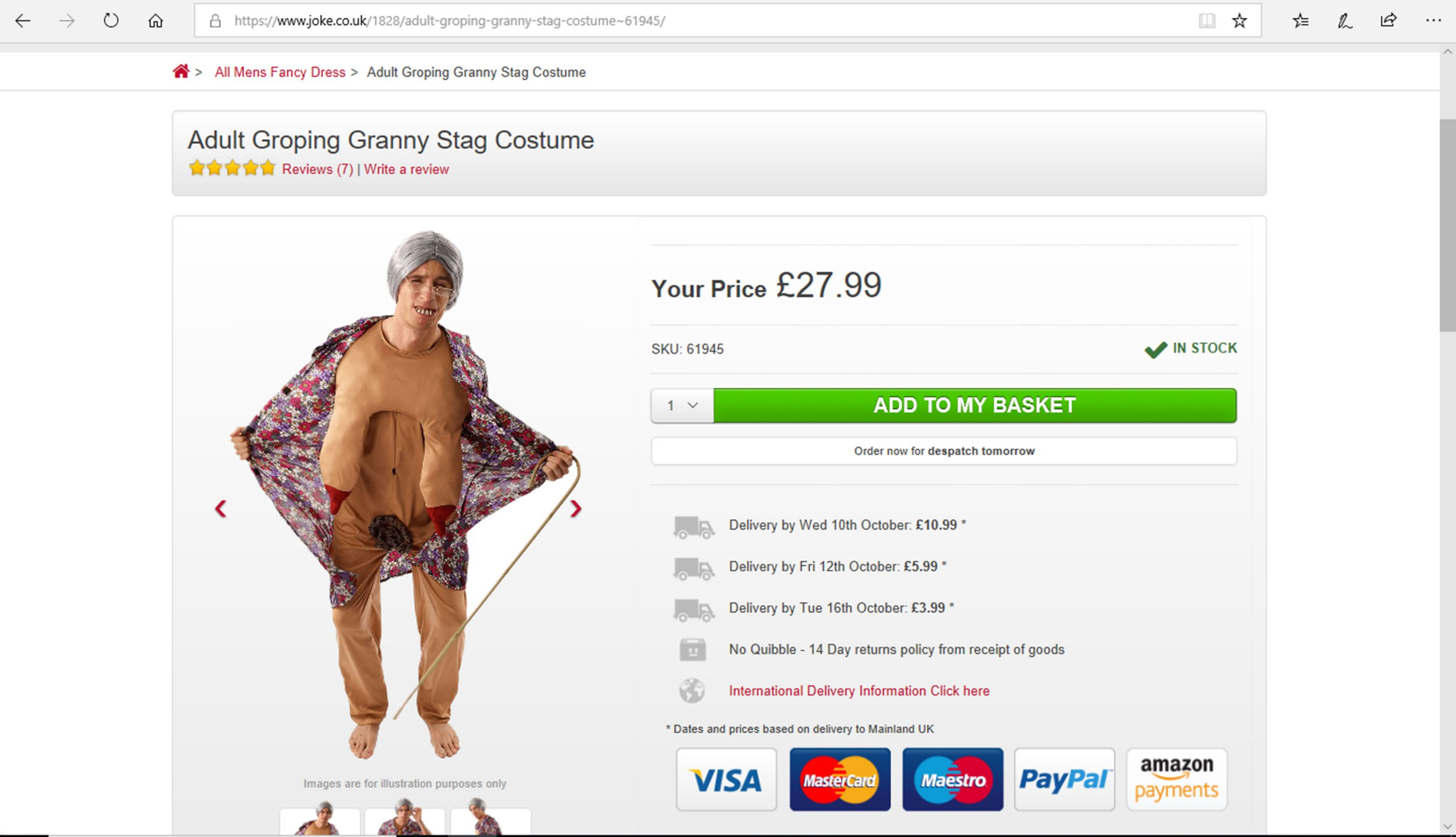 **COPYRIGHT UNKNOWN USE AT OWN RISK** *PIXELATE/BLUR TO OWN DISCRETION* PIC FROM Caters News - (PICTURED: Groping granny halloween costume ) - An online fancy dress retailer has sparked outrage from sex attack victims for selling a dirty old man flasher Halloween costume.The Luton-based company has come under fire from survivors of sexual abuse over the tasteless and offensive 24.99 costume, which features a long coat with a naked mans body underneath. Victims have also slammed a similar costume sold on the site for 27.99 dubbed groping granny, featuring a naked elderly woman.SEE CATERS COPY