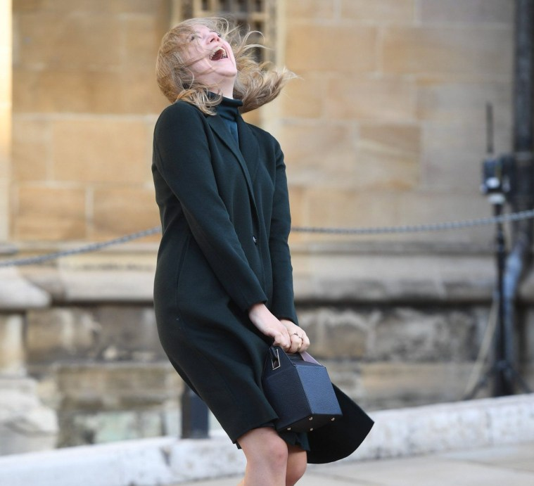 Image ??Licensed to i-Images Picture Agency. 12/10/2018. Windsor, United Kingdom. Princess of Eugenie of York and Mr Jack Brooksbank Wedding. Members of the Royal Family and Guest arrive at Windsor Castle for The wedding of Her Royal Highness Princess of Eugenie of York and Mr Jack Brooksbank. Picture by Andrew Parsons / i-Images