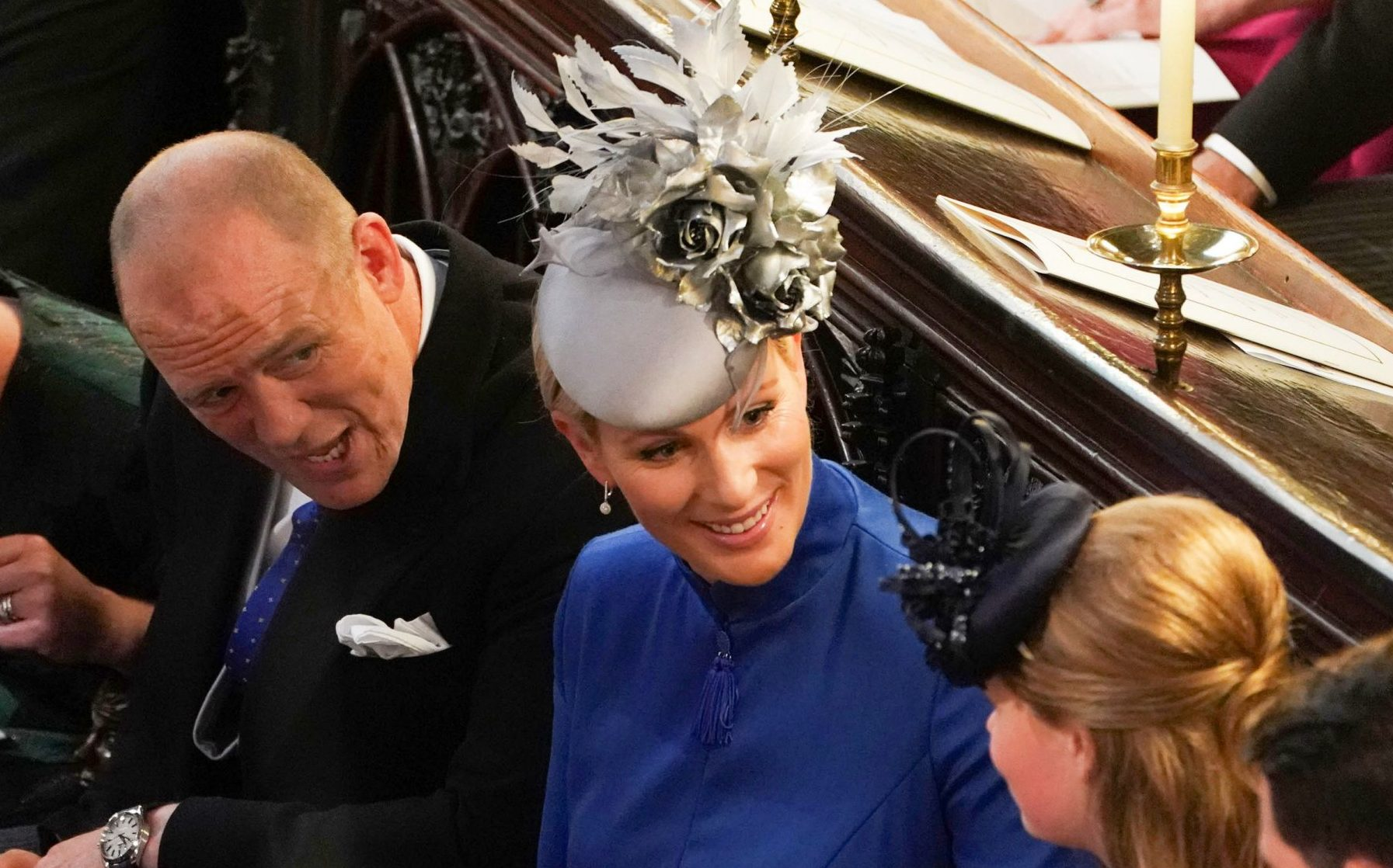 Mandatory Credit: Photo by REX (9927742cd) Autumn Phillips, Mike Tindall, Zara Tindall and Lady Louise Windsor The wedding of Princess Eugenie and Jack Brooksbank, Ceremony, St George's Chapel, Windsor Castle, Berkshire, UK - 12 Oct 2018