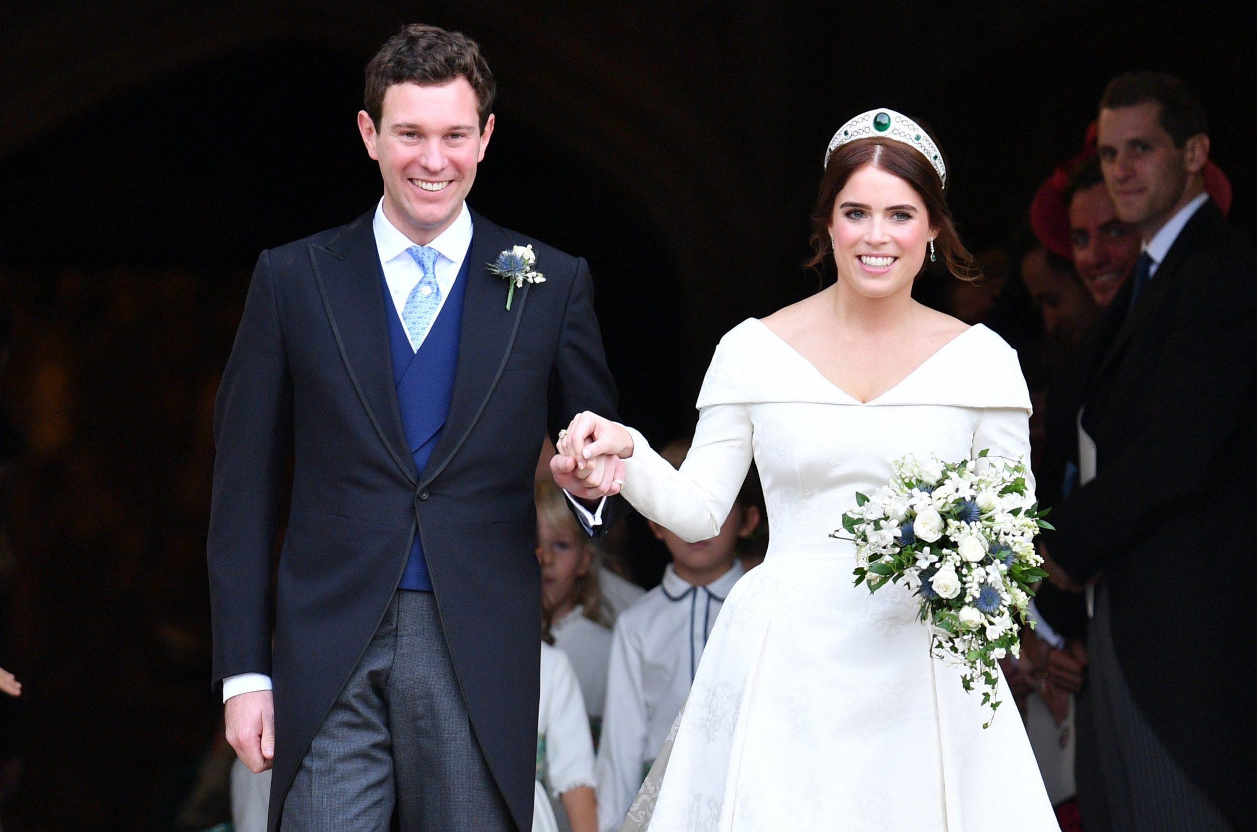 Mandatory Credit: Photo by Tim Rooke/REX (9927759i) Jack Brooksbank and Princess Eugenie The wedding of Princess Eugenie and Jack Brooksbank, Carriage Procession, Windsor, Berkshire, UK - 12 Oct 2018