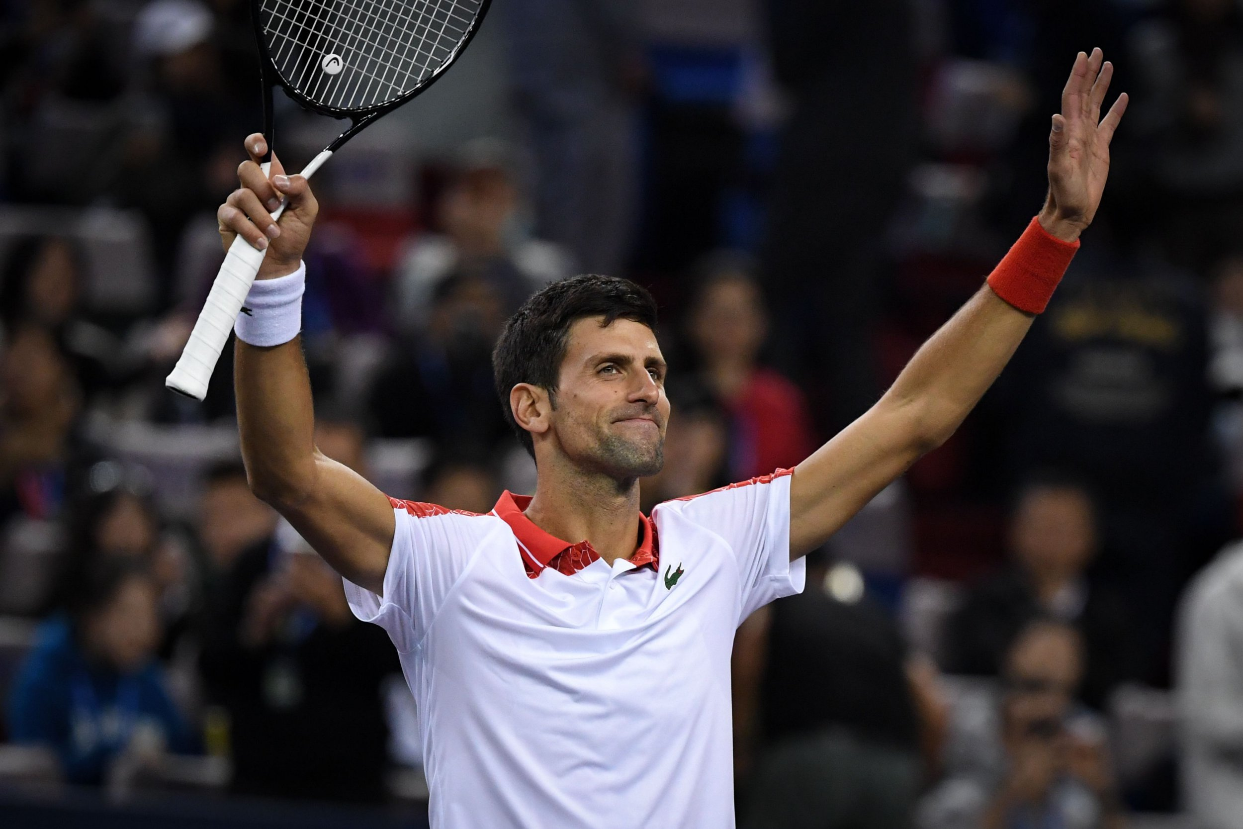 Serbia's Novak Djokovic celebrates after winning against Germany's Alexander Zverev during their men's singles semi-finals match at the Shanghai Masters tennis tournament on October 13, 2018. (Photo by WANG ZHAO / AFP)WANG ZHAO/AFP/Getty Images