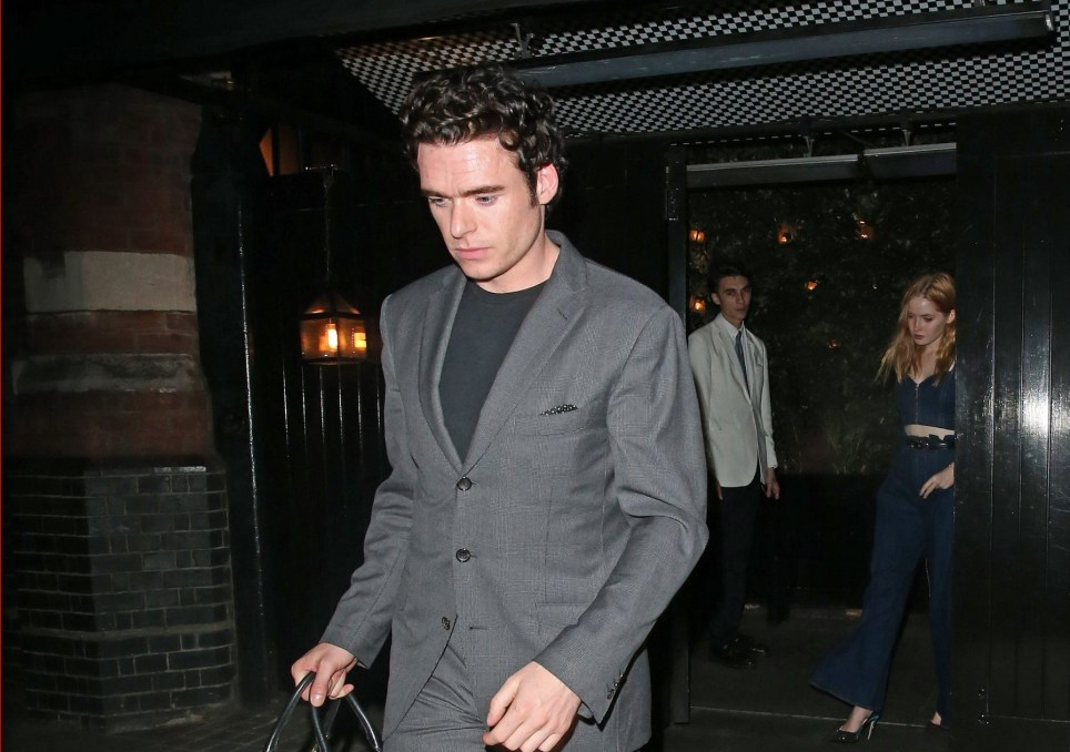 EXCLUSIVE: * Min Web / Online Fee 250 GBP For Set * * Min Print Fee 350 GBP For Set * British Actor Richard Madden from BBC TV Series 'Bodyguard' is seen leaving The Chiltern Firehouse in Marylebone at 3.30am along with his girlfriend Ellie Bamber. Richard & Ellie were enjoying a night at the exclusive London celebrity hotspot along with Noel Gallagher & Amber Atherton. Richard the former 'Game Of Throne's actor has been tipped to take over as 007 after Daniel Craig's last outing as the iconic British Spy. In his sharp tailored suit Richard already looked the part Pictured: Richard Madden,Ellie Bamber Ref: SPL5033047 131018 EXCLUSIVE Picture by: SplashNews.com * Min Web / Online Fee 250 GBP For Set * * Min Print Fee 350 GBP For Set * Splash News and Pictures Los Angeles: 310-821-2666 New York: 212-619-2666 London: 0207 644 7656 Milan: +39 02 4399 8577 Sydney: +61 02 9240 7700 photodesk@splashnews.com World Rights
