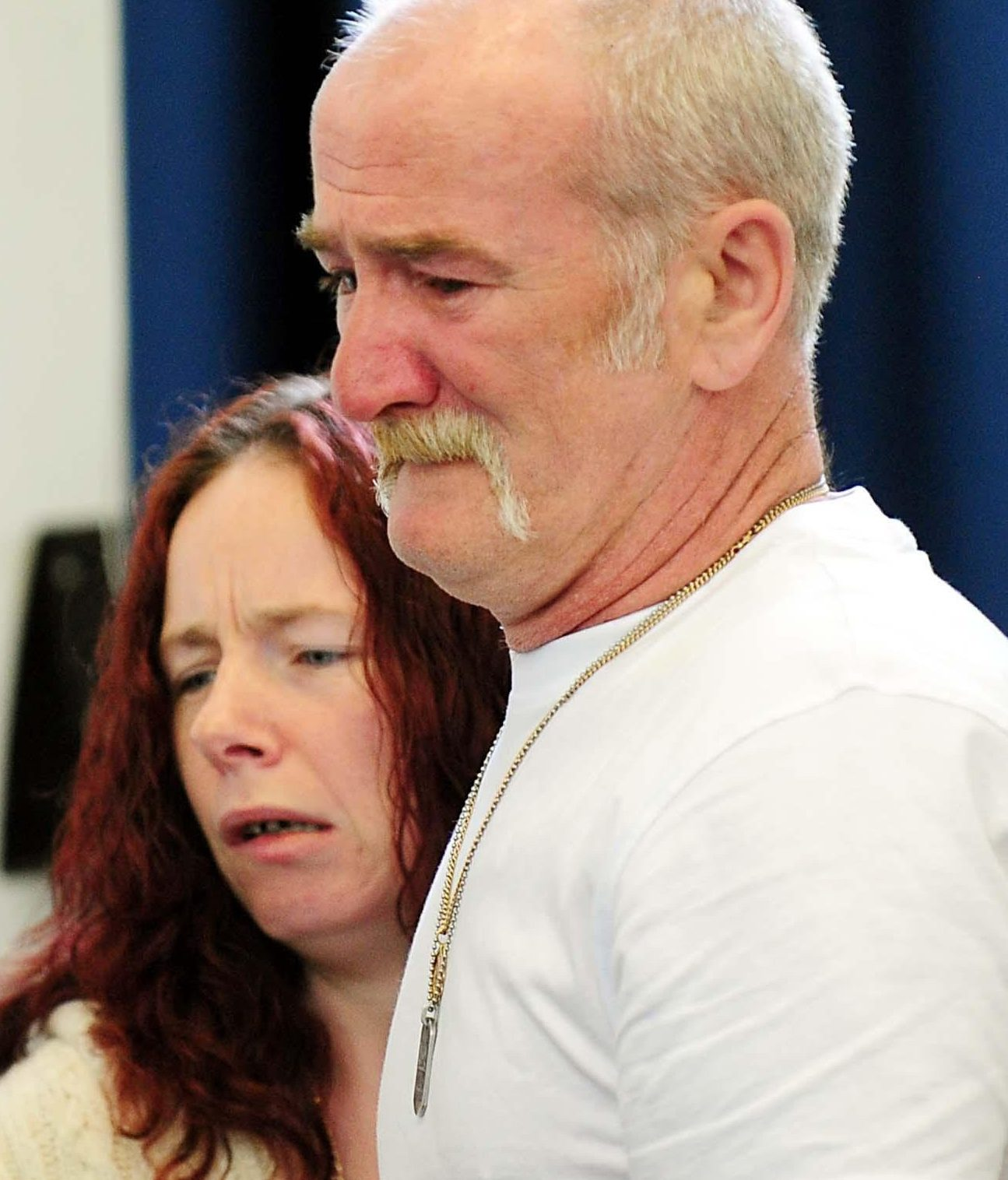 Mick Philpott and wife Mairead speak to the media at Derby Conference Centre, Derby following a fire at their home last week which claimed the lives of six of his children.