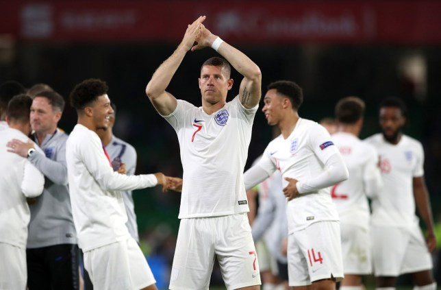 England's Ross Barkley celebrates after the Nations League match at Benito Villamarin Stadium, Seville. PRESS ASSOCIATION Photo. Picture date: Monday October 15, 2018. See PA story SOCCER Spain. Photo credit should read: Nick Potts/PA Wire. RESTRICTIONS: Use subject to FA restrictions. Editorial use only. Commercial use only with prior written consent of the FA. No editing except cropping.