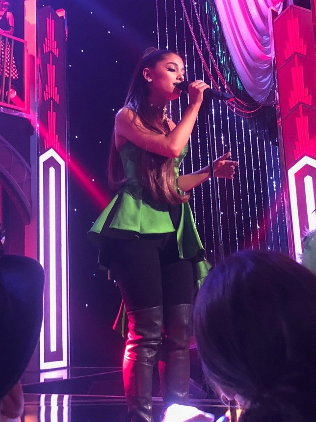 Ariana Grande seen during a performance in New York after her split with Pete Davidson