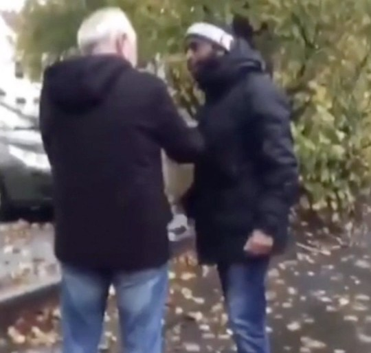 A confrontation between two men before the skirmish turns into something much more nasty when the man on the left throws the elderly man to the floor, in a shocking incident in Moseley, Birmingham, Tuesday 16th October, 2018. A SHOCKING video shows a yob attack a terrified pensioner as the old man begs him ?Please! Please! Please! I?m too old!? In the distressing clip, a thug grabs the elderly man and violently throws him to the ground so that he hits his head on the pavement. At the end of the video, the old man is left moaning in pain as he lies incapacitated on the street. The incident was filmed in Alcester Road in the leafy suburb of Moseley, Birmingham. The appalling attack is believed to have taken place on Tuesday 16th October and the footage has been shared across social media. ... SEE COPY AND VID ... PIC BY NEWS DOG MEDIA ... 0121 517 0019
