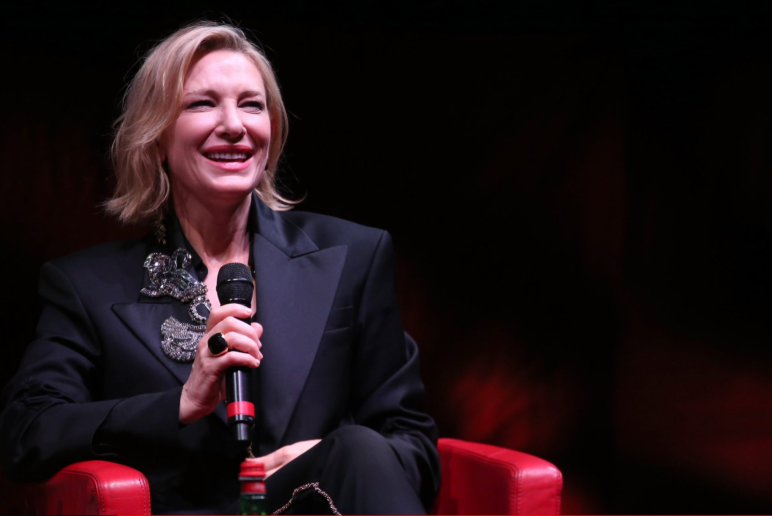 ROME, ITALY - OCTOBER 19: Cate Blanchett meets the audience during the 13th Rome Film Fest at Auditorium Parco Della Musica on October 19, 2018 in Rome, Italy. (Photo by Franco Origlia/Getty Images)