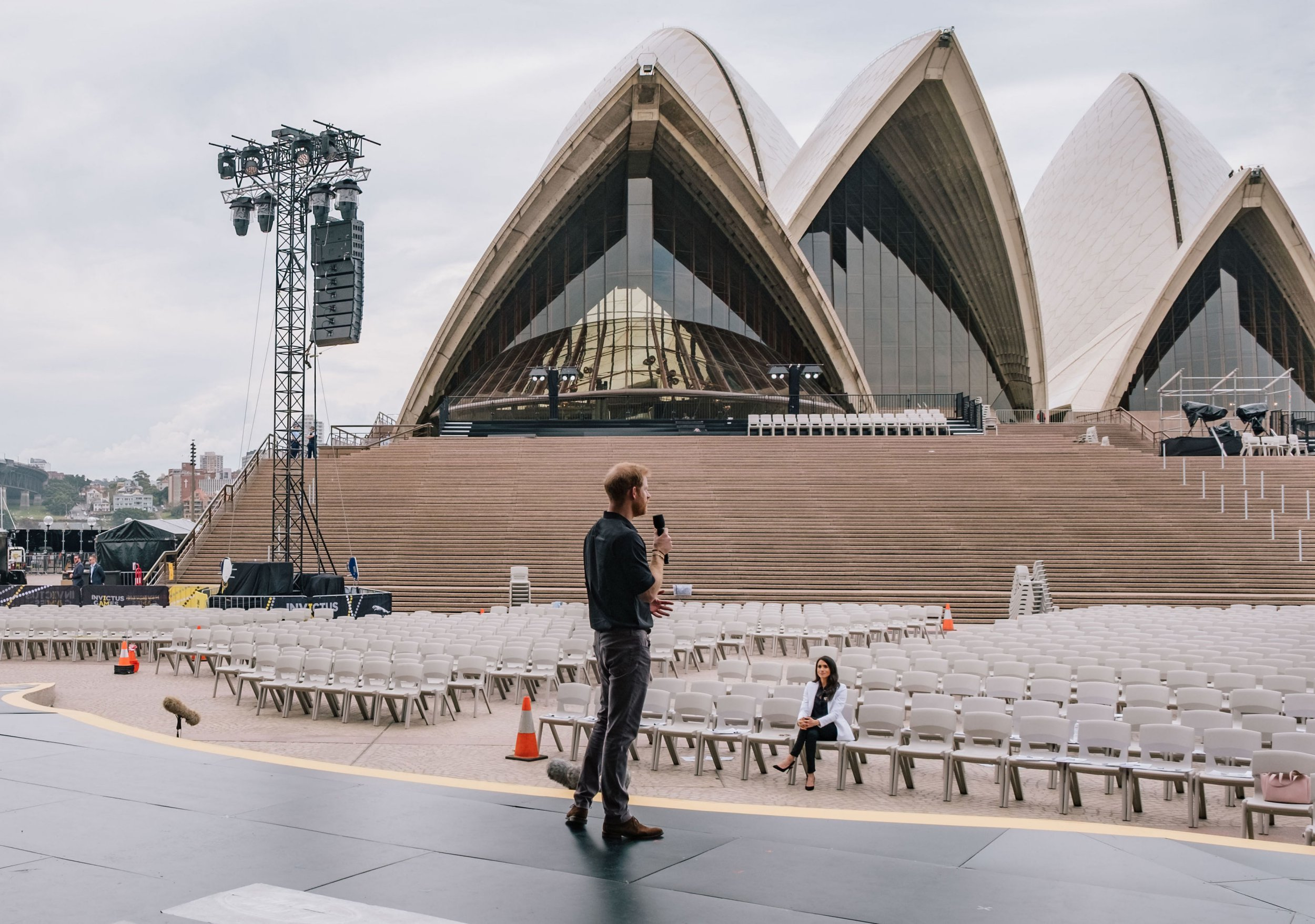 MANDATORY CREDIT: Kensington Palace Kensington Palace handout photo dated 20/10/18 of the Duchess of Sussex looking on as the Duke of Sussex practices his speech ahead of the opening ceremony of the 2018 Invictus Games at Sydney Opera House. PRESS ASSOCIATION Photo. Issue date: Saturday October 20, 2018. See PA story ROYAL Tour. Photo credit should read: Kensington Palace/PA Wire NOTE TO EDITORS: This handout photo may only be used in for editorial reporting purposes for the contemporaneous illustration of events, things or the people in the image or facts mentioned in the caption. Reuse of the picture may require further permission from the copyright holder.
