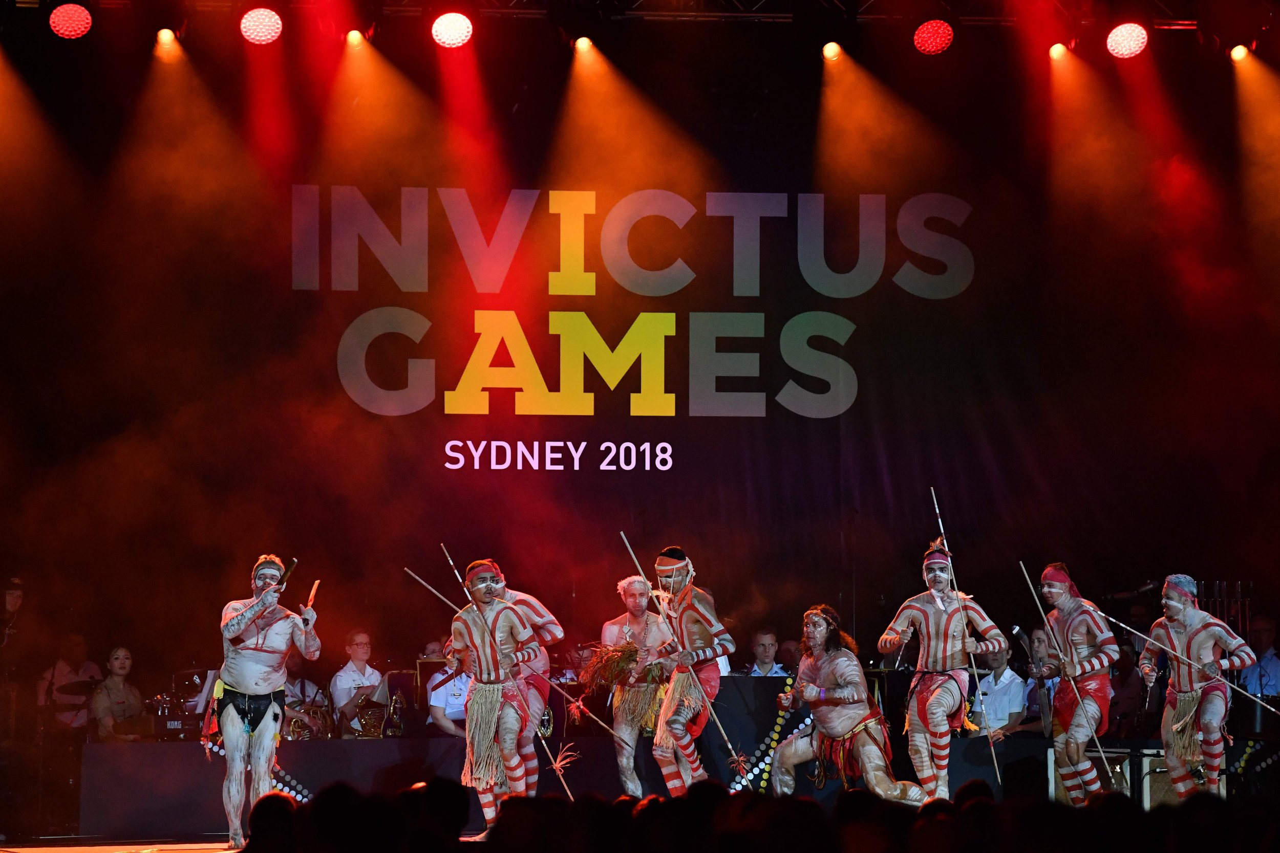 Artists perform during the opening ceremony of the Invictus Games in Sydney on October 20, 2018. - Britain's Prince Harry opened the Olympic-style Invictus Games for disabled and wounded soldiers at a glittering ceremony on the forecourt of Sydney's Opera House. (Photo by SAEED KHAN / AFP)SAEED KHAN/AFP/Getty Images