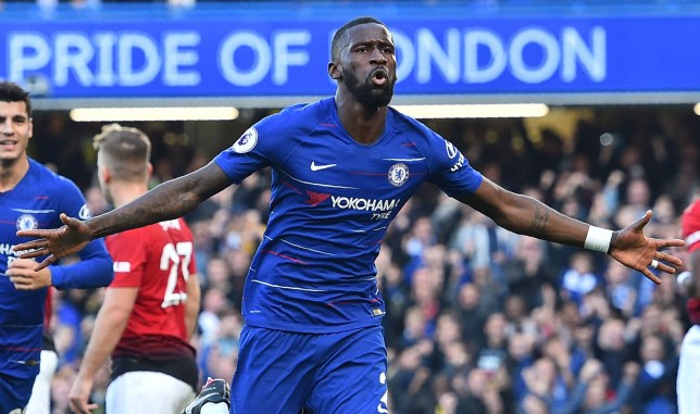 Chelsea's German defender Antonio Rudiger celebrates after scoring the opening goal of the English Premier League football match between Chelsea and Manchester United at Stamford Bridge in London on October 20, 2018. (Photo by Glyn KIRK / AFP) / RESTRICTED TO EDITORIAL USE. No use with unauthorized audio, video, data, fixture lists, club/league logos or 'live' services. Online in-match use limited to 120 images. An additional 40 images may be used in extra time. No video emulation. Social media in-match use limited to 120 images. An additional 40 images may be used in extra time. No use in betting publications, games or single club/league/player publications. / GLYN KIRK/AFP/Getty Images