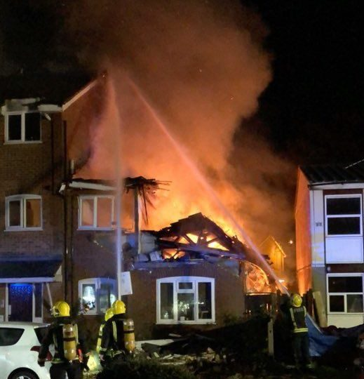 Handout photo taken from Twitter with permission from @rahmanalanezi of a damaged property in Fulbeck Way, Harrow, north-west London, after a suspected gas explosion tore through a flat on Sunday morning. PRESS ASSOCIATION Photo. Issue date: Sunday October 21, 2018. See PA story FIRE Harrow. Photo credit should read: Rahman Alanezi/PA Wire NOTE TO EDITORS: This handout photo may only be used in for editorial reporting purposes for the contemporaneous illustration of events, things or the people in the image or facts mentioned in the caption. Reuse of the picture may require further permission from the copyright holder.