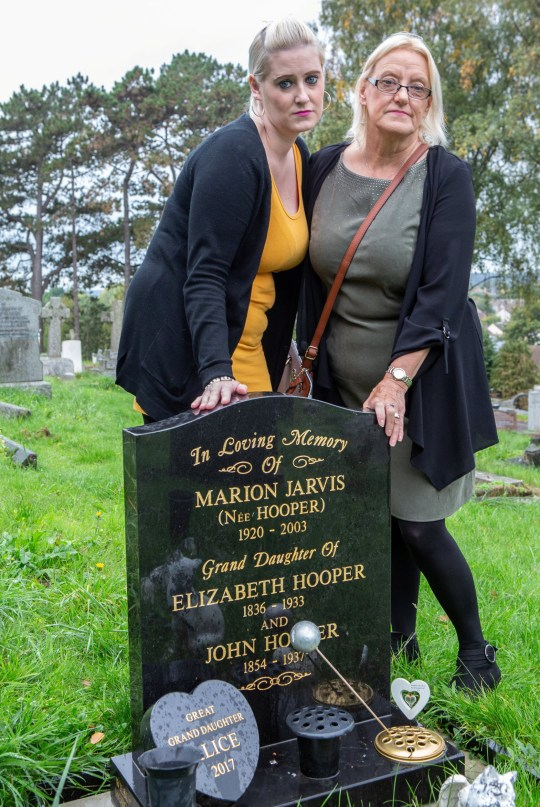 "**EMBARGOED UNTIL 2PM GMT / OCT 21, 2018** Katherine and Patrica Quick who found out their grandmother/mother Marion Jarvis was buried in the wrong grave when they tried to bury Katherine???s daughter Alice. Marions body was found one plot behind where she was meant to be. Penarth Cemetery, Cardiff, South Wales. See SWNS story SWSYgrave. A grieving mum was horrified when she discovered her grandmother had been buried in the wrong grave -- for 14 YEARS. Marion Jarvis, 82, was supposed to be laid to rest in the family plot alongside her grandparents Elizabeth and John Hooper. But after more than a decade of visiting the spot, her family discovered the gran-of-12 was in fact buried with a complete stranger, in the wrong plot. Her grandparents were buried in the correct unmarked plot a few metres away, unbeknown to the rest of the family. Heartbreakingly, granddaughter Katherine Quick, 32, only discovered the blunder when her daughter Alice was stillborn, and she asked for her daughter's ashes to be buried alongside Marion. Penarth Town Council admitted the blunder - but can't shed any light on why it happened because ???nobody who worked at the council at that point works here now""."