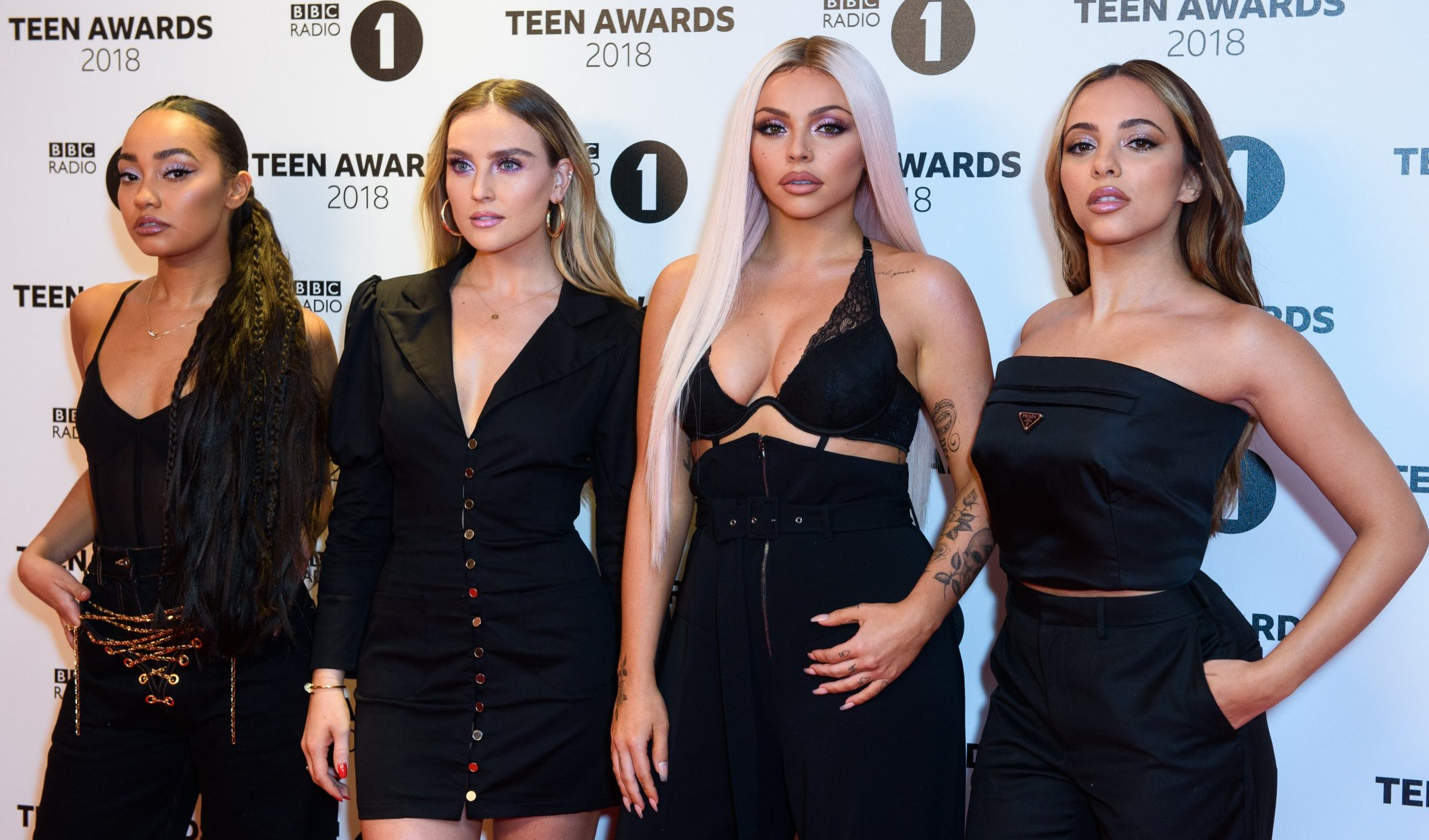 LONDON, ENGLAND - OCTOBER 21: Little Mix arrive the BBC Radio 1 Teen Awards at SSE Arena on October 21, 2018 in London, England. (Photo by Joe Maher/Getty Images)