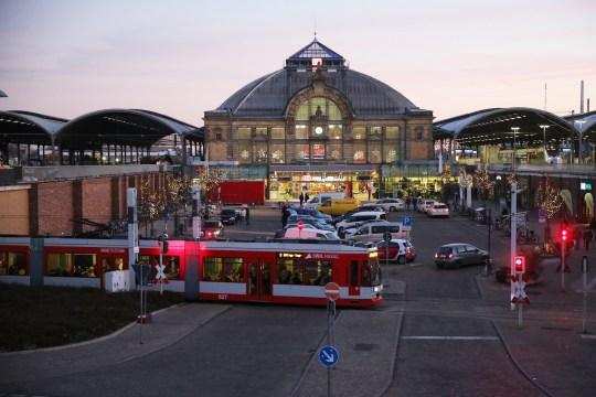 Stra??enbahn vor Hauptbahnhof Bahnhof Halle Saale mdv MDV ?? (Photo by Schellhorn/ullstein bild via Getty Images)