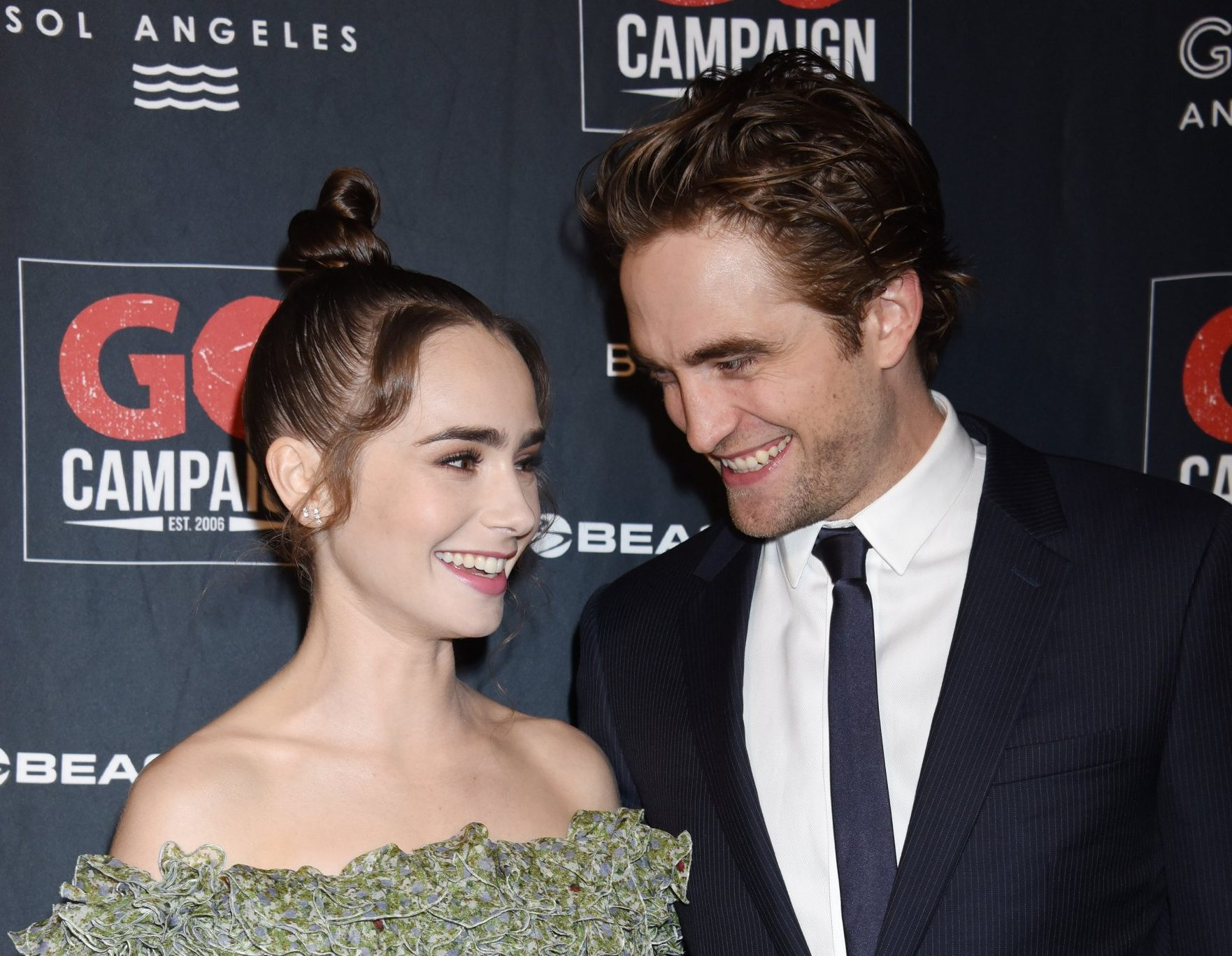 Go Campaign Gala 2018 held at City Market Social House on October 20, 2018 in Los Angeles, CA. 20 Oct 2018 Pictured: Lily Collins and Robert Pattinson. Photo credit: Janet Gough / AFF-USA.com / MEGA TheMegaAgency.com +1 888 505 6342