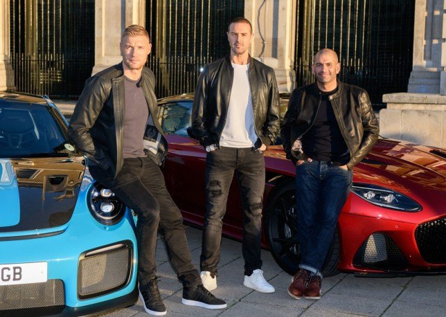 Editorial use only Mandatory Credit: Photo by Ashley Knotek/REX (9940027f) Andrew 'Freddie' Flintoff, Paddy McGuinness and Chris Harris alongside an Aston Martin and a Porsche BBC Top Gear's new presenting line-up announced, London, UK - 22 Oct 2018 Freddie Flintoff, Paddy Mcguinness and Chris Harris are revealed as BBC Top Gear?s new presenting line-up, taking over the helm from Matt LeBlanc whose final series will air in early 2019 on BBC Two.