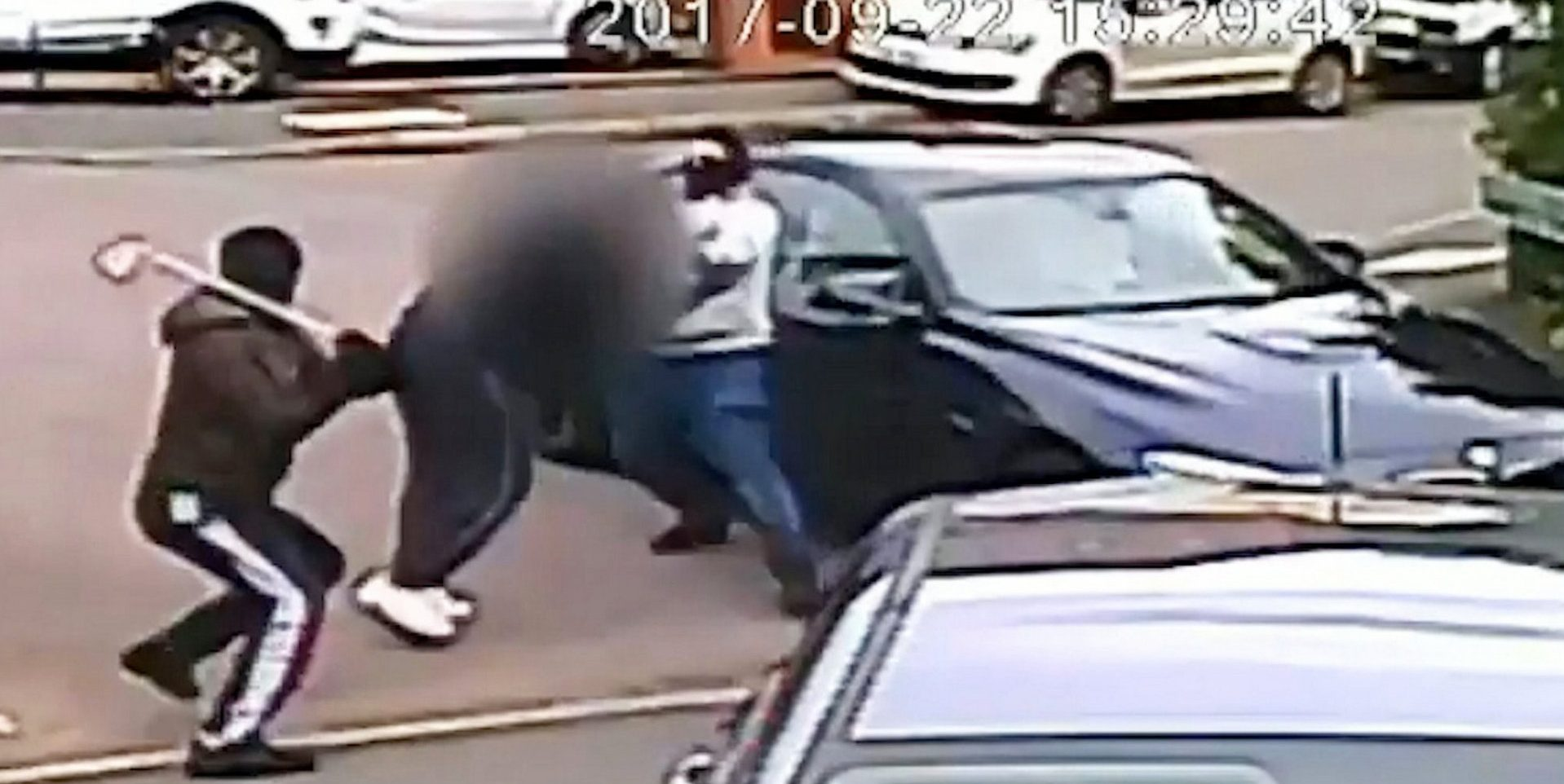 Sarweeth Rehman and Hussun Ashraf during a BMW carjacking in Shirley, West Midlands, in September 2017. See SWNS story SWMDcarjack. Two bungling carjackers have been jailed after a cop chased one of them as he made his getaway in a tow truck ? with a top speed of just 20MPH. Sarweeth Rehman and Hussun Ashraf, both 22, were behind a string of violent robbers, targeting high-performance cars. Many of the thefts were captured on CCTV showing them attacking motorists with golf clubs, baseball bats and metal bars before speeding away. They were finally caught when an eagle-eyed off-duty police officer spotted Ashraf towing a BMW away at night and became suspicious. He followed the tow truck as it weaved its way along narrow side streets at just 20mph. Ashraf tried to flee on foot but were arrested and officers discovered they were responsible for a string of violent carjackings. The pair, both of Birmingham, admitted conspiracy to rob and conspiracy to steal motor vehicles and two counts of assault with intent to rob. Ashraf was jailed for six years four months while Rehman was sentenced to six years at Birmingham Crown Court today (23/10).