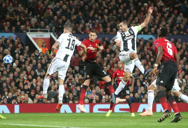 MANCHESTER, ENGLAND - OCTOBER 23: Nemanja Matic of Manchester United in action with Leonardo Bonucci and Giorgio Chiellini of Juventus during the Group H match of the UEFA Champions League between Manchester United and Juventus at Old Trafford on October 23, 2018 in Manchester, United Kingdom. (Photo by Tom Purslow/Man Utd via Getty Images)