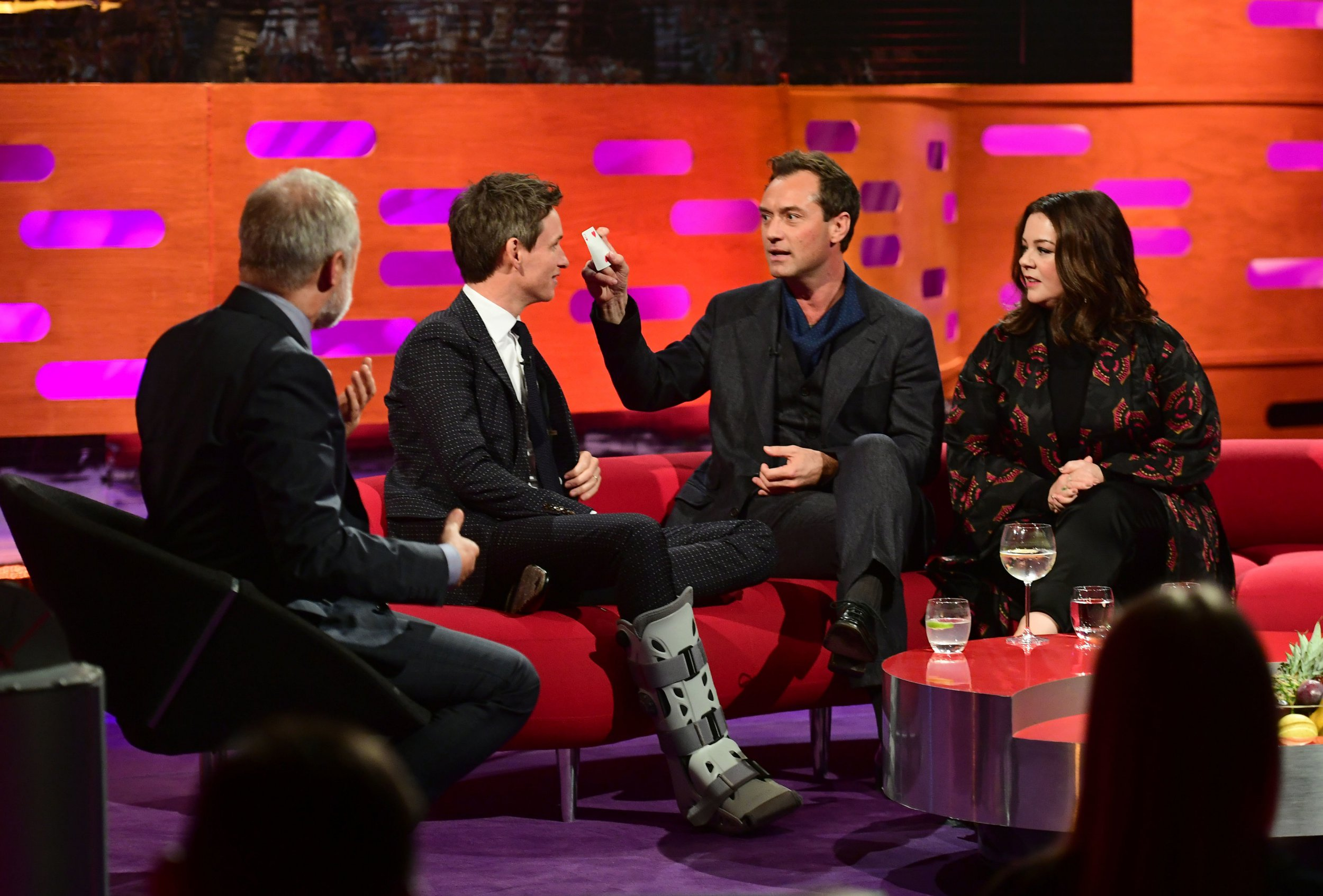 (left to right) Graham Norton, Eddie Redmayne, Jude Law and Melissa McCarthy during the filming of the Graham Norton Show at BBC Studioworks 6 Television Centre, Wood Lane, London, to be aired on BBC One on Friday. PRESS ASSOCIATION Photo. Picture date: Thursday October 18, 2018. Photo credit should read: PA Images on behalf of So TV
