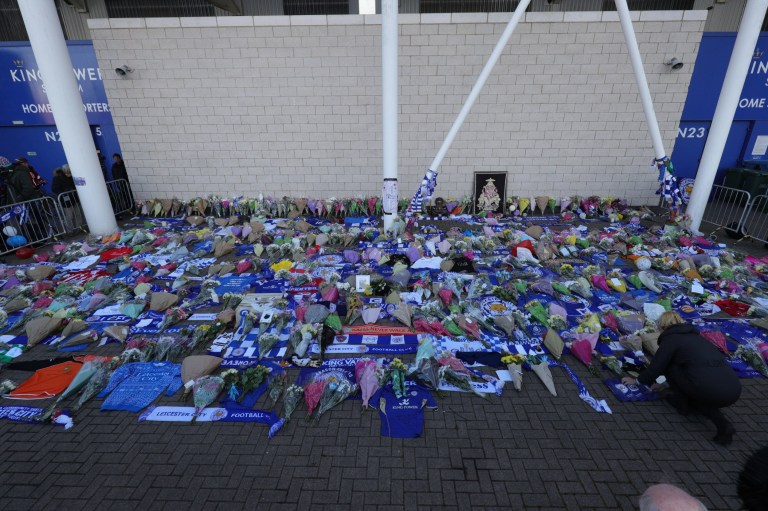 Tributes at Leicester City Foootbal Club following a helicopter used by club owner Vichai Srivaddhanaprabha, crashing into flames in a car park near the stadium shortly after 8.30pm on Saturday evening. PRESS ASSOCIATION Photo. Picture date: Sunday October 28, 2018. See PA story POLICE Stadium. Photo credit should read: Aaron Chown/PA Wire